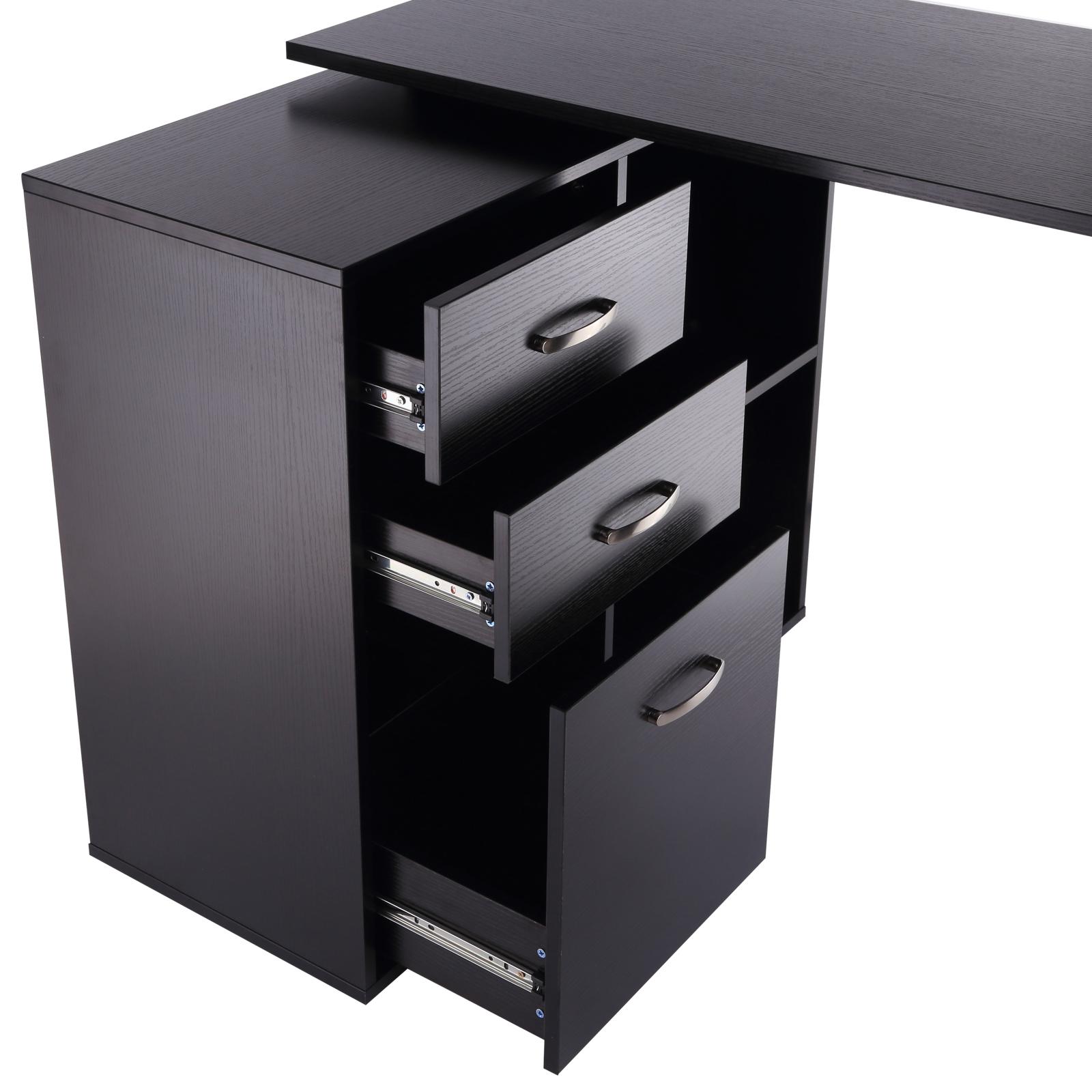 Computer Desk Table Workstation L Shape Drawer Shelf File Cabinet Home Office Ebay