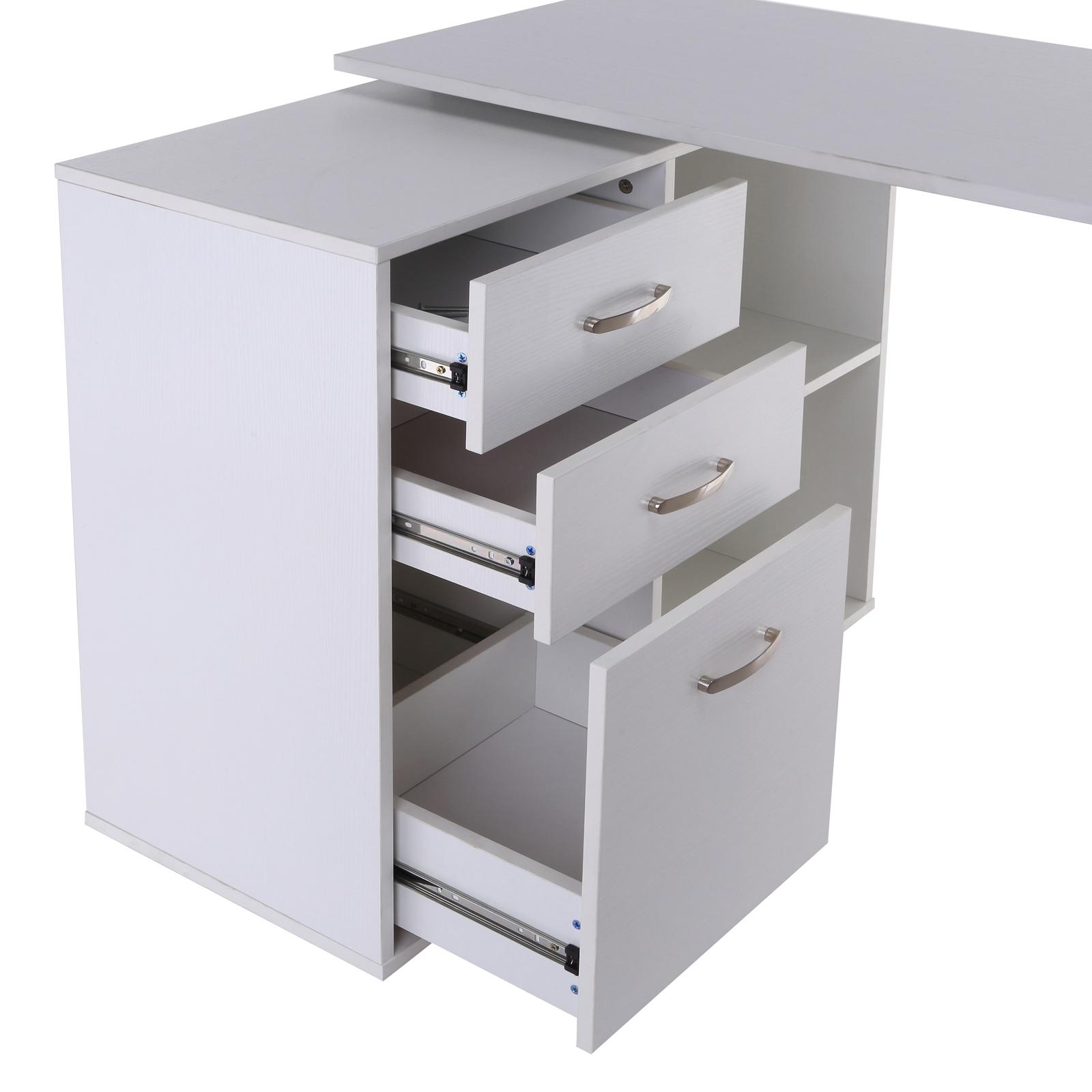 computer desk table workstation l shape drawer shelf file cabinet home office ebay. Black Bedroom Furniture Sets. Home Design Ideas