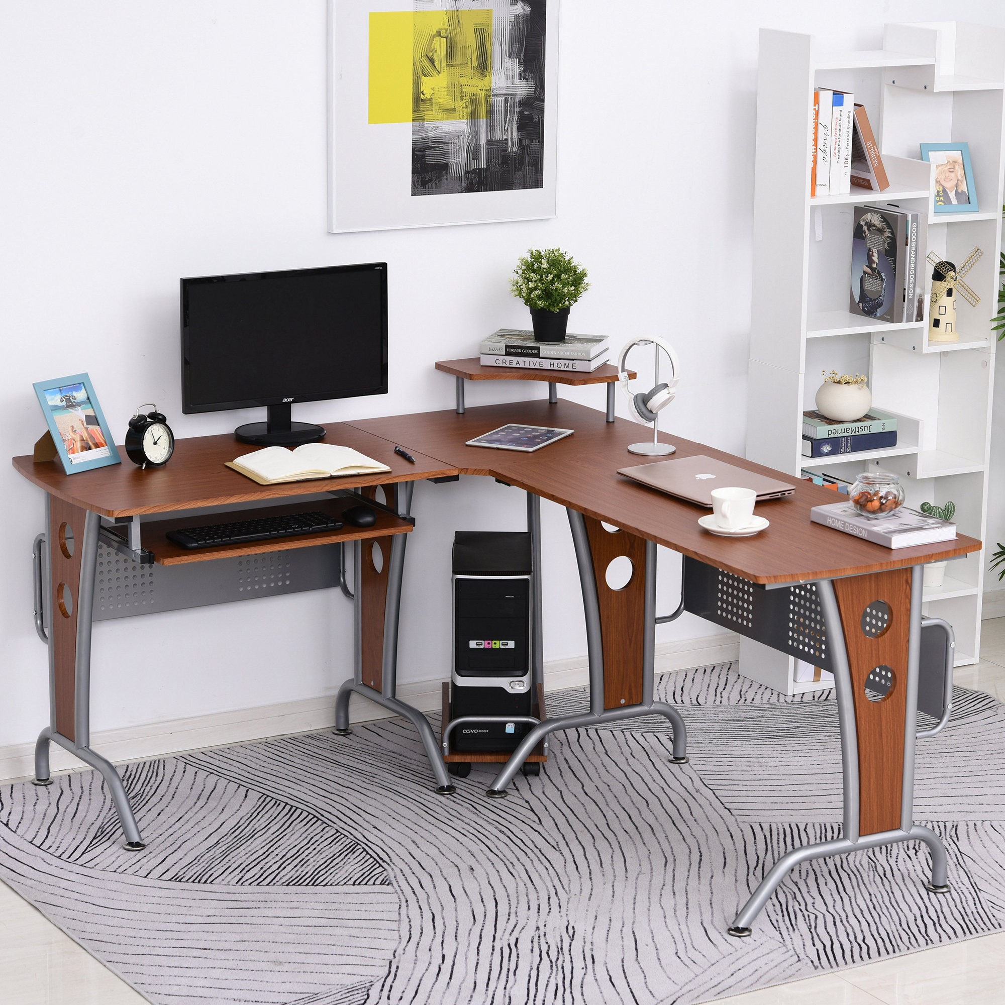 Details about HOMCOM L-Shaped Corner Computer Desk PC Table Workstation  with Keyboard Tray
