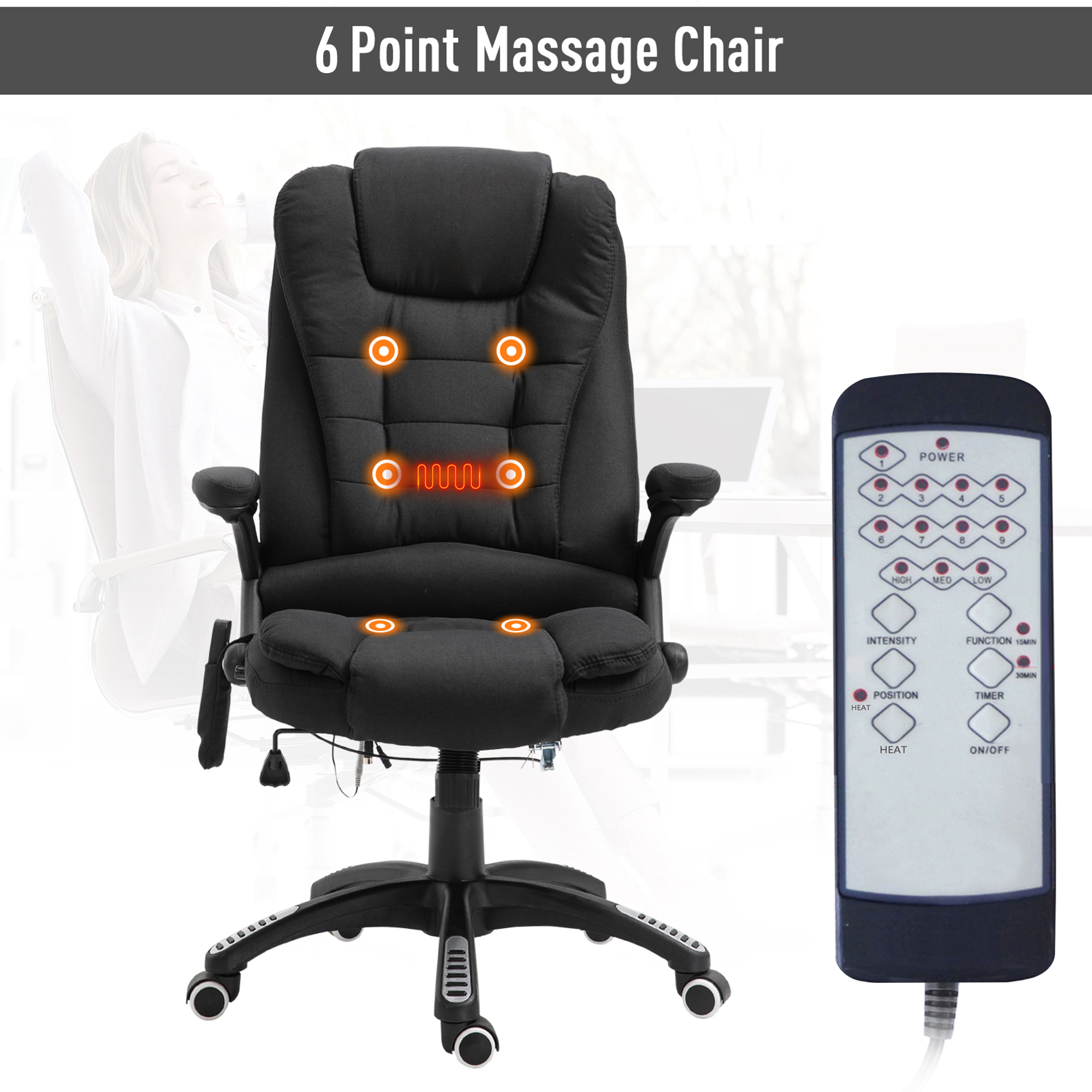 thumbnail 4 - Executive Reclining Chair 130°w/6 Heating Massage Points Relaxing Headrest