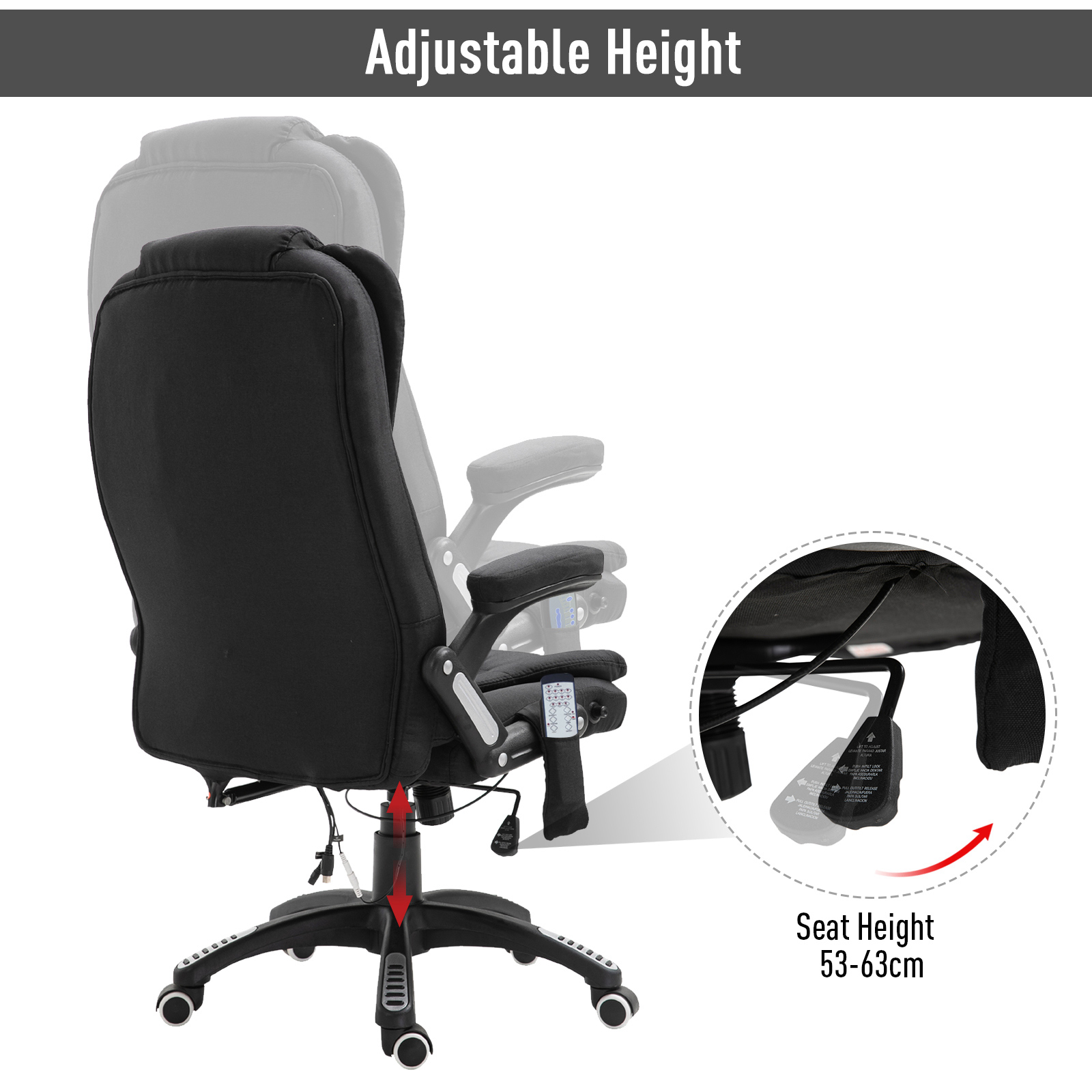 thumbnail 5 - Executive Reclining Chair 130°w/6 Heating Massage Points Relaxing Headrest