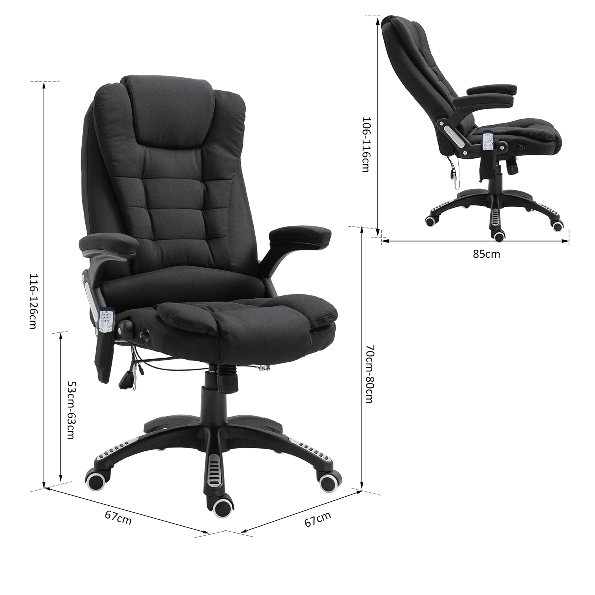 thumbnail 3 - Executive Reclining Chair 130°w/6 Heating Massage Points Relaxing Headrest