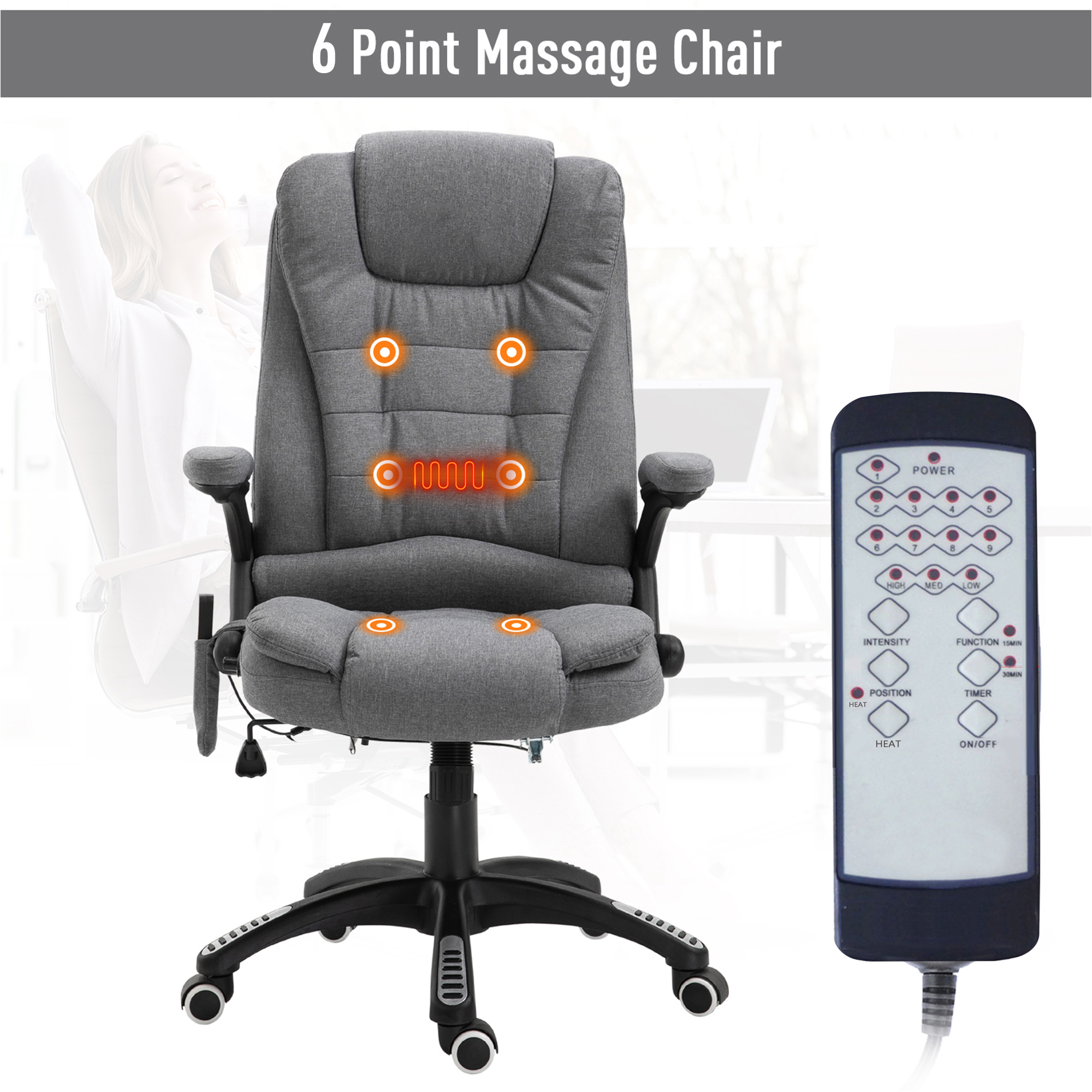 thumbnail 15 - Executive Reclining Chair 130°w/6 Heating Massage Points Relaxing Headrest