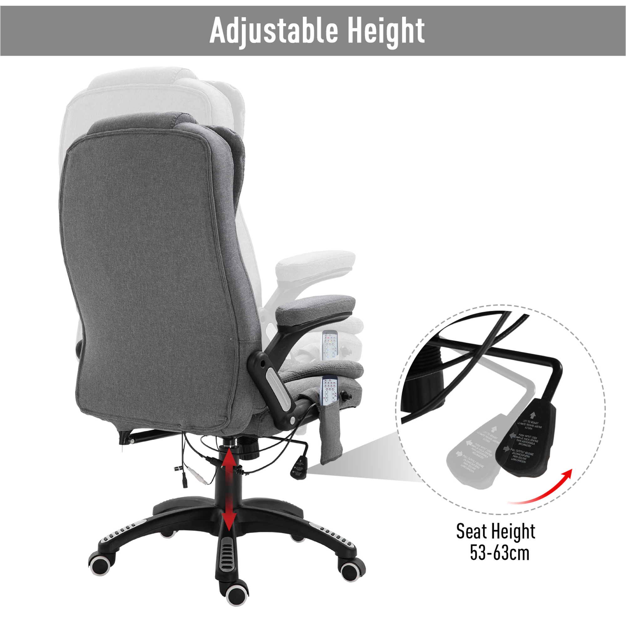 thumbnail 16 - Executive Reclining Chair 130°w/6 Heating Massage Points Relaxing Headrest