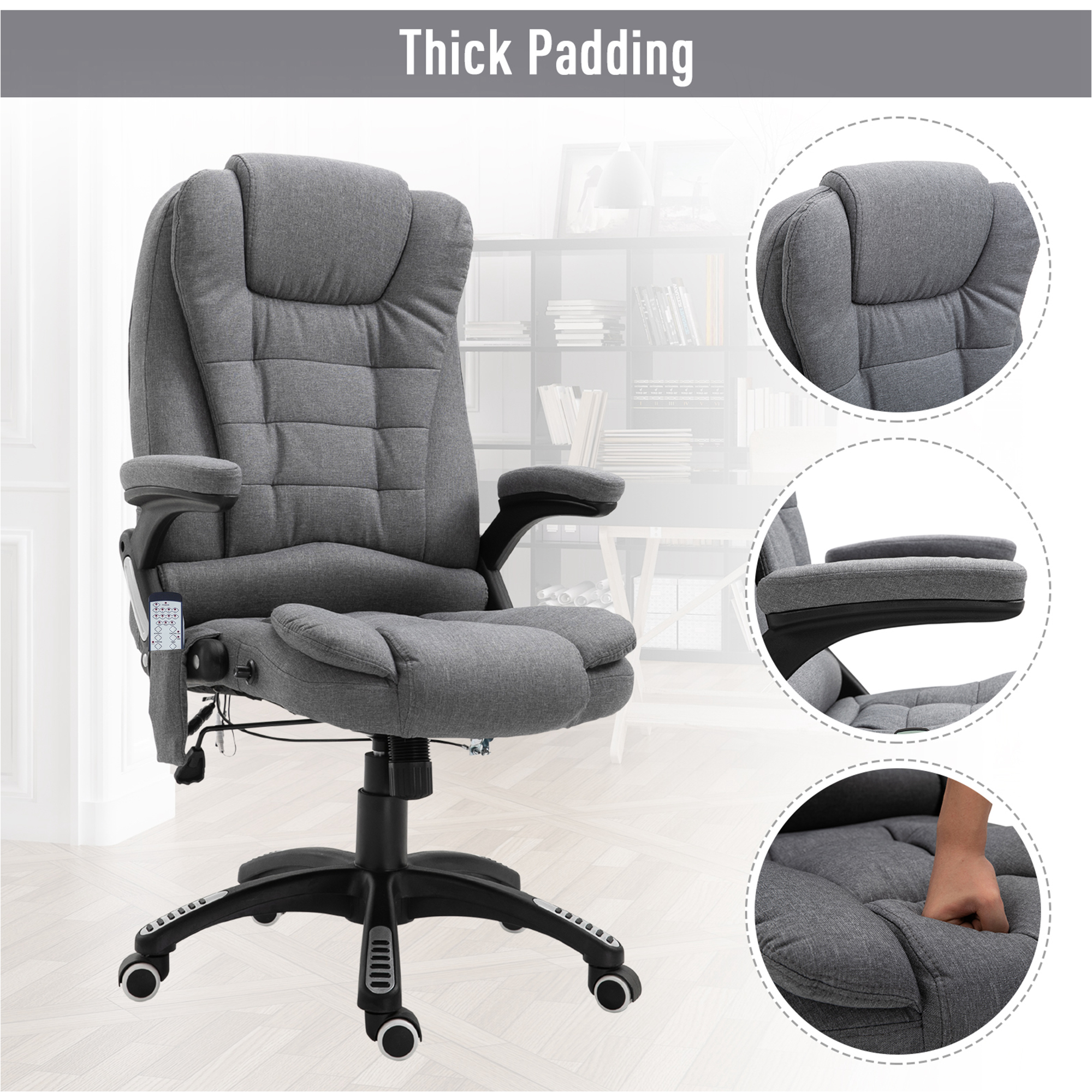 thumbnail 19 - Executive Reclining Chair 130°w/6 Heating Massage Points Relaxing Headrest