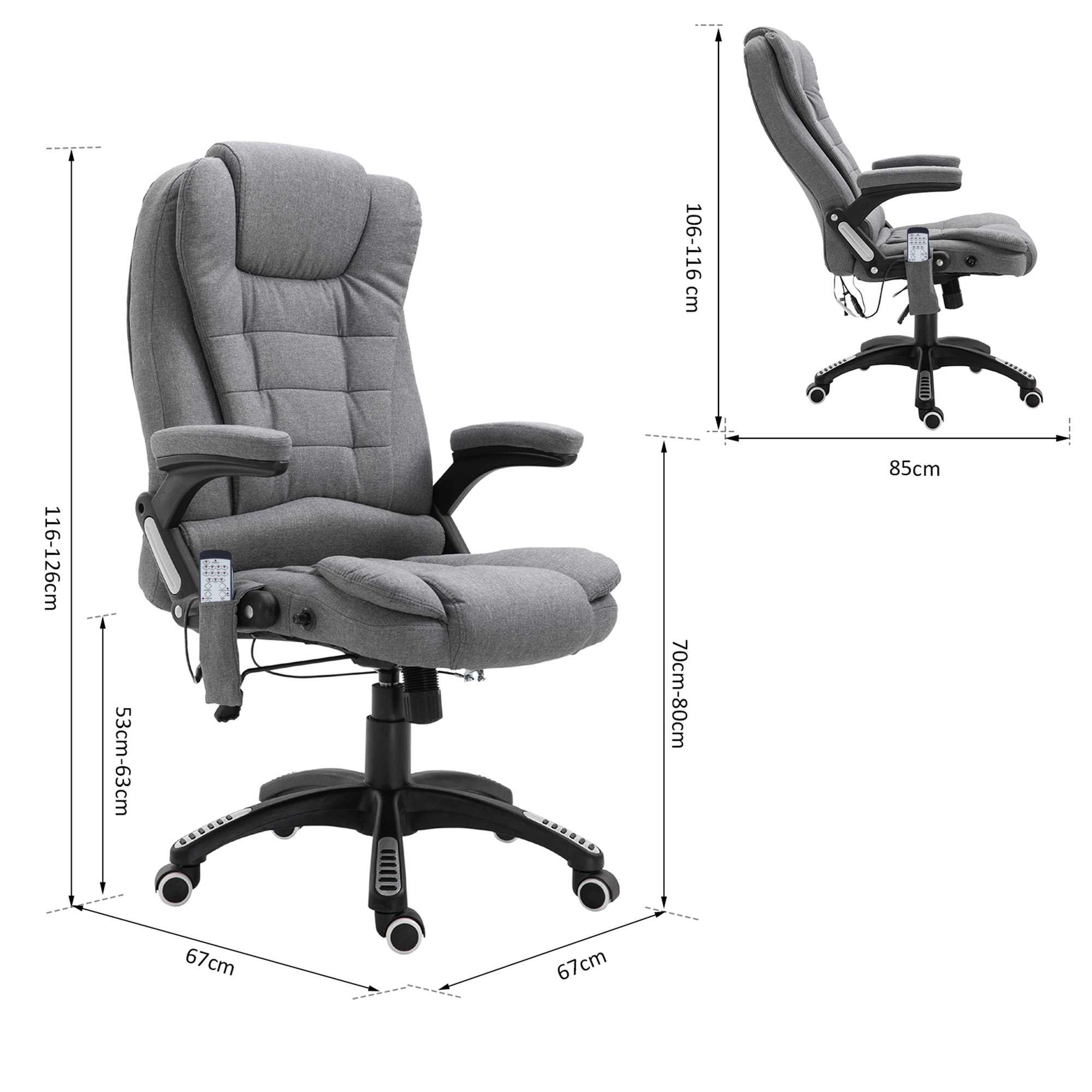 thumbnail 14 - Executive Reclining Chair 130°w/6 Heating Massage Points Relaxing Headrest