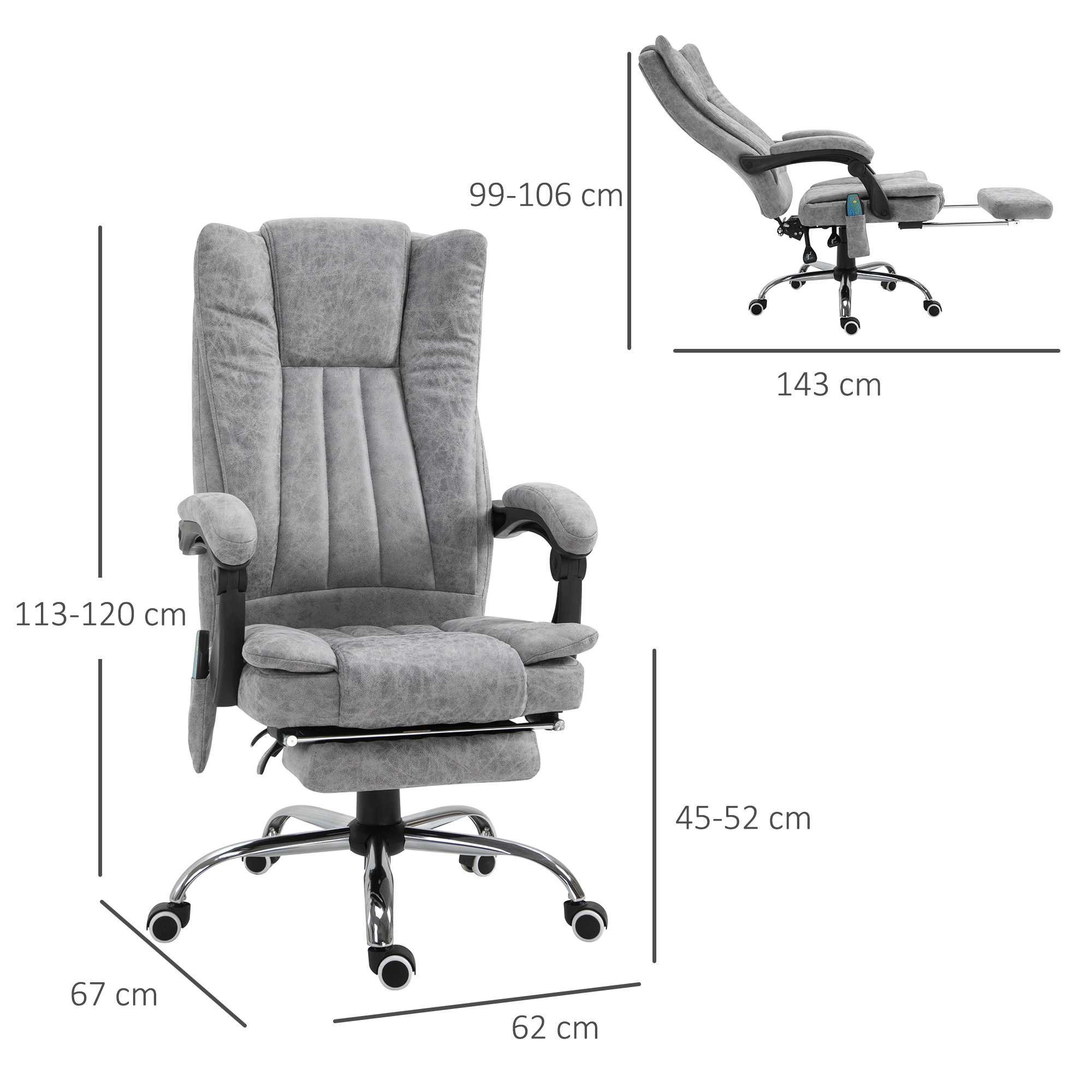 6 Point Vibrating Massage Office Chair Pu Leather W Manual Footrest Padding Ebay