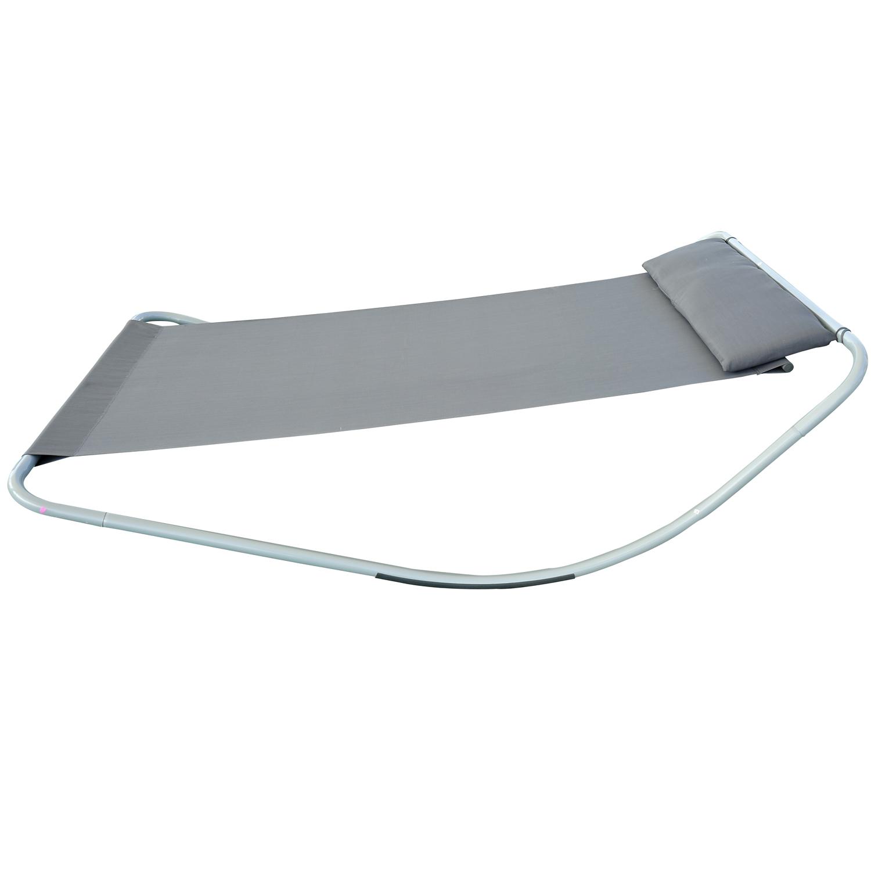 Outsunny Single Textilene Outdoor Hammock Bed Patio Sun LoungerRocker Grey