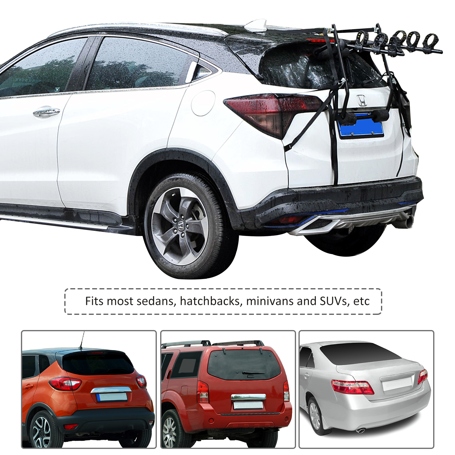 3 Bike Bicycle Carrier Car Truck SUV Foldable Trunk Mount Rear Rack w// Straps