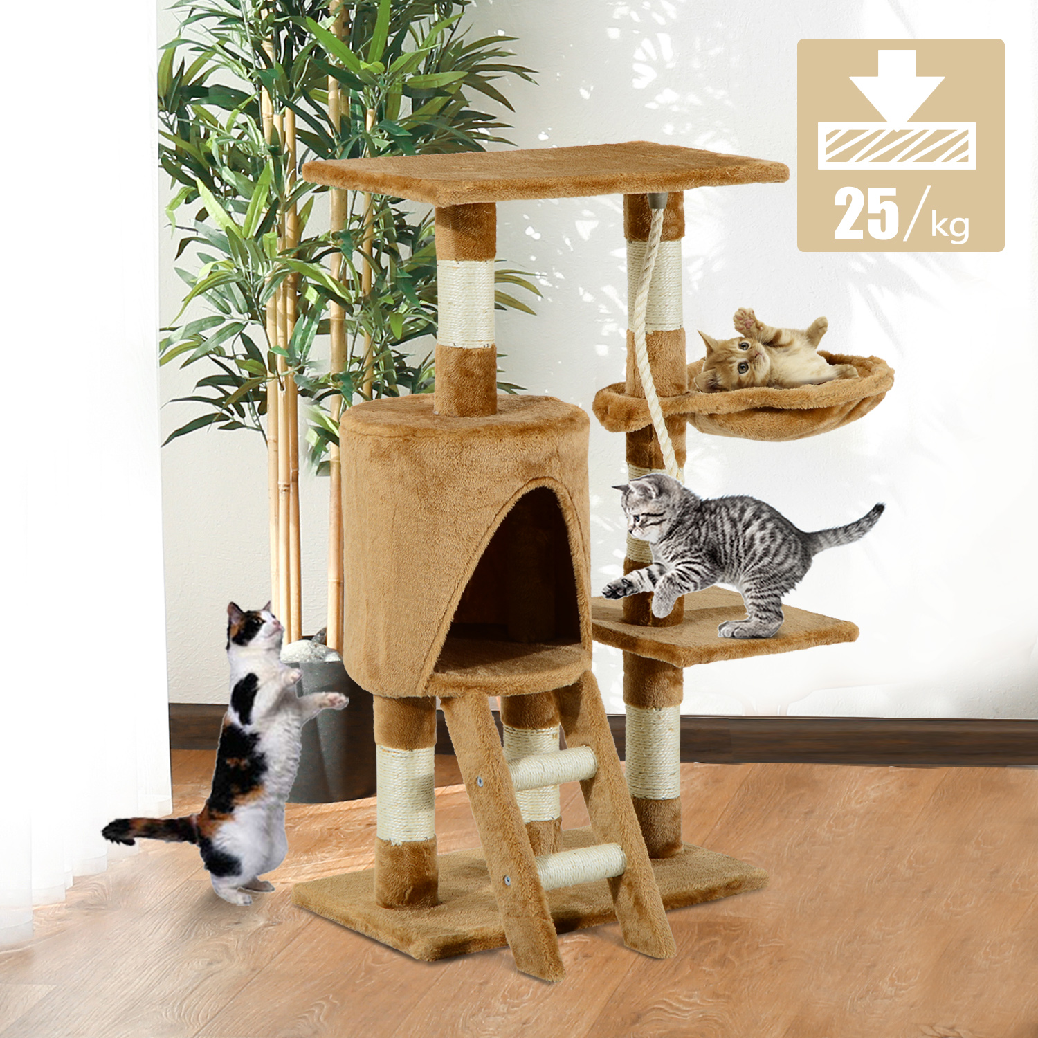 Pawhut Cat Tree Condo Furniture Scratching Post Climbing Tower