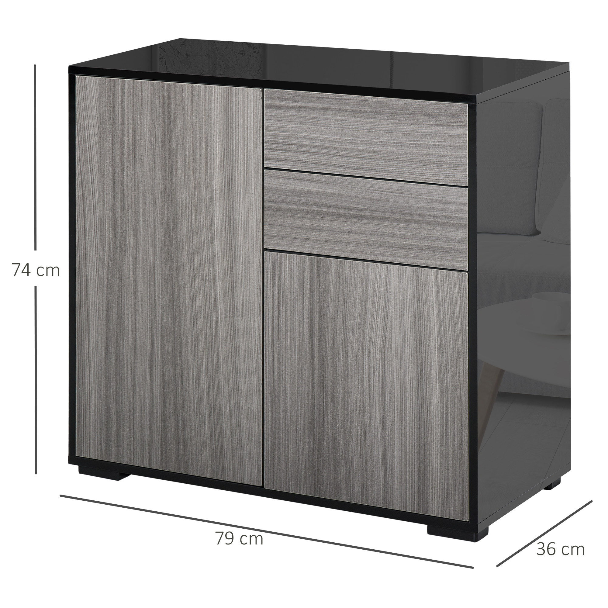 thumbnail 11 - Push-Open Side Cabinet with 2 Drawer 2 Door Cabinet for Home Office