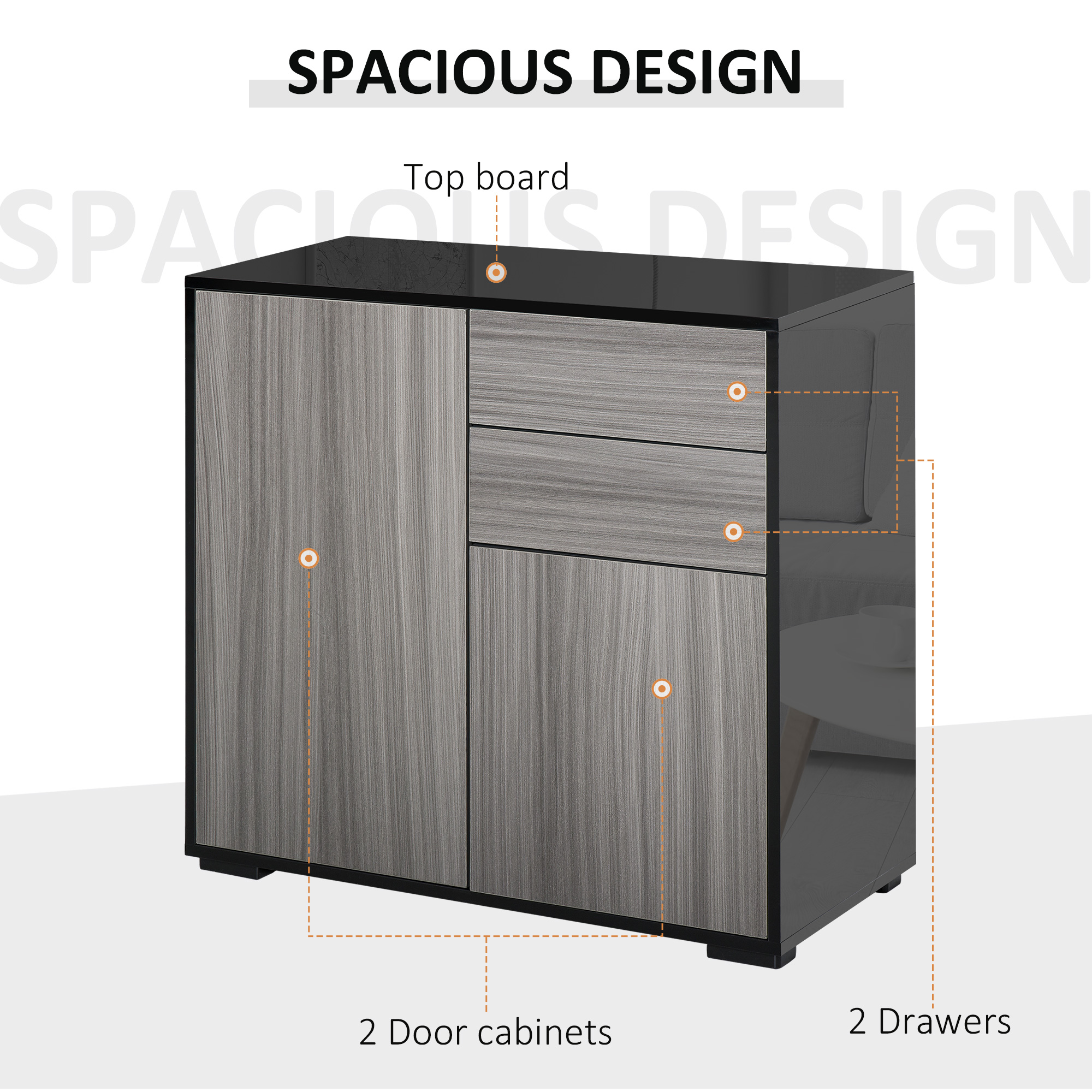 thumbnail 12 - Push-Open Side Cabinet with 2 Drawer 2 Door Cabinet for Home Office