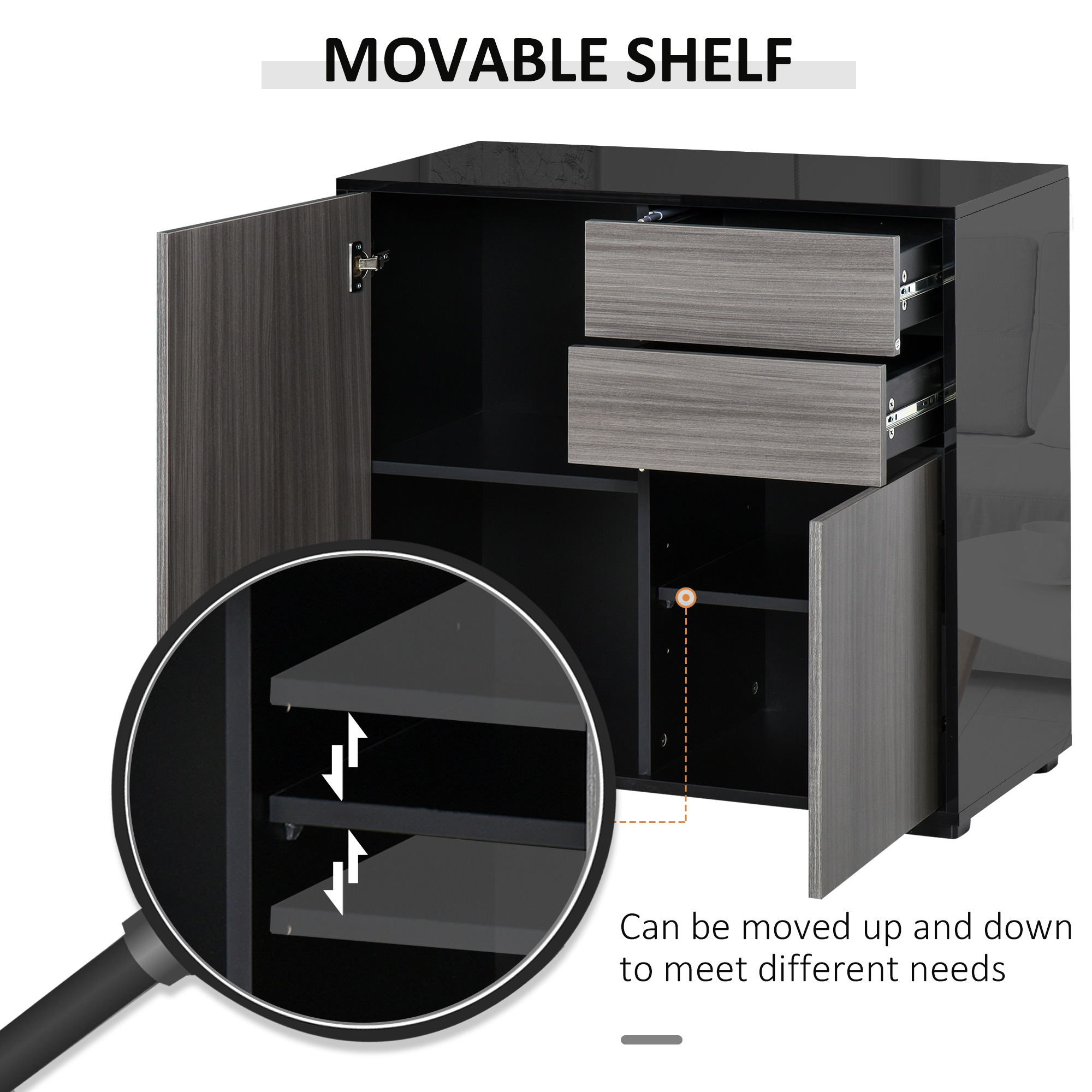 thumbnail 13 - Push-Open Side Cabinet with 2 Drawer 2 Door Cabinet for Home Office