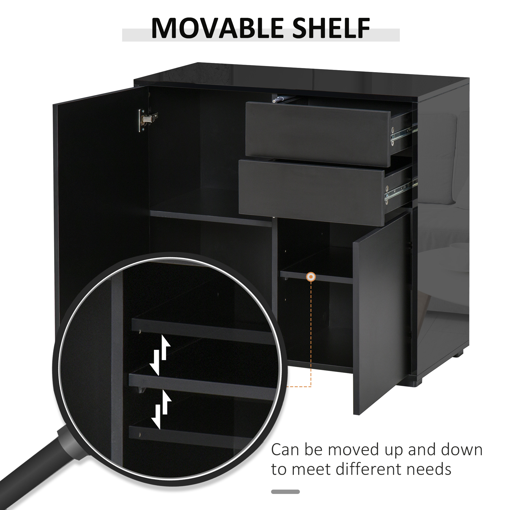 thumbnail 5 - Push-Open Side Cabinet with 2 Drawer 2 Door Cabinet for Home Office