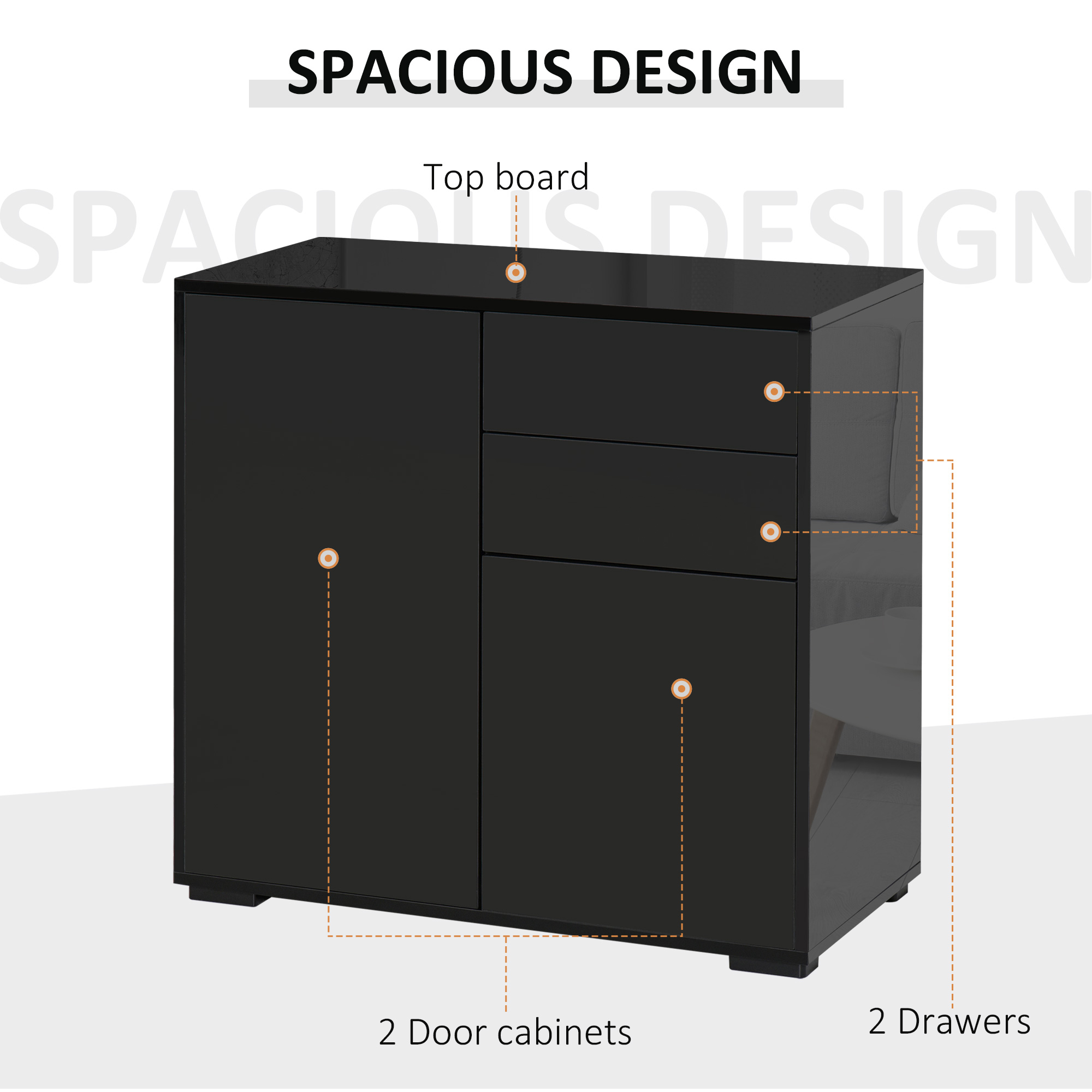 thumbnail 4 - Push-Open Side Cabinet with 2 Drawer 2 Door Cabinet for Home Office
