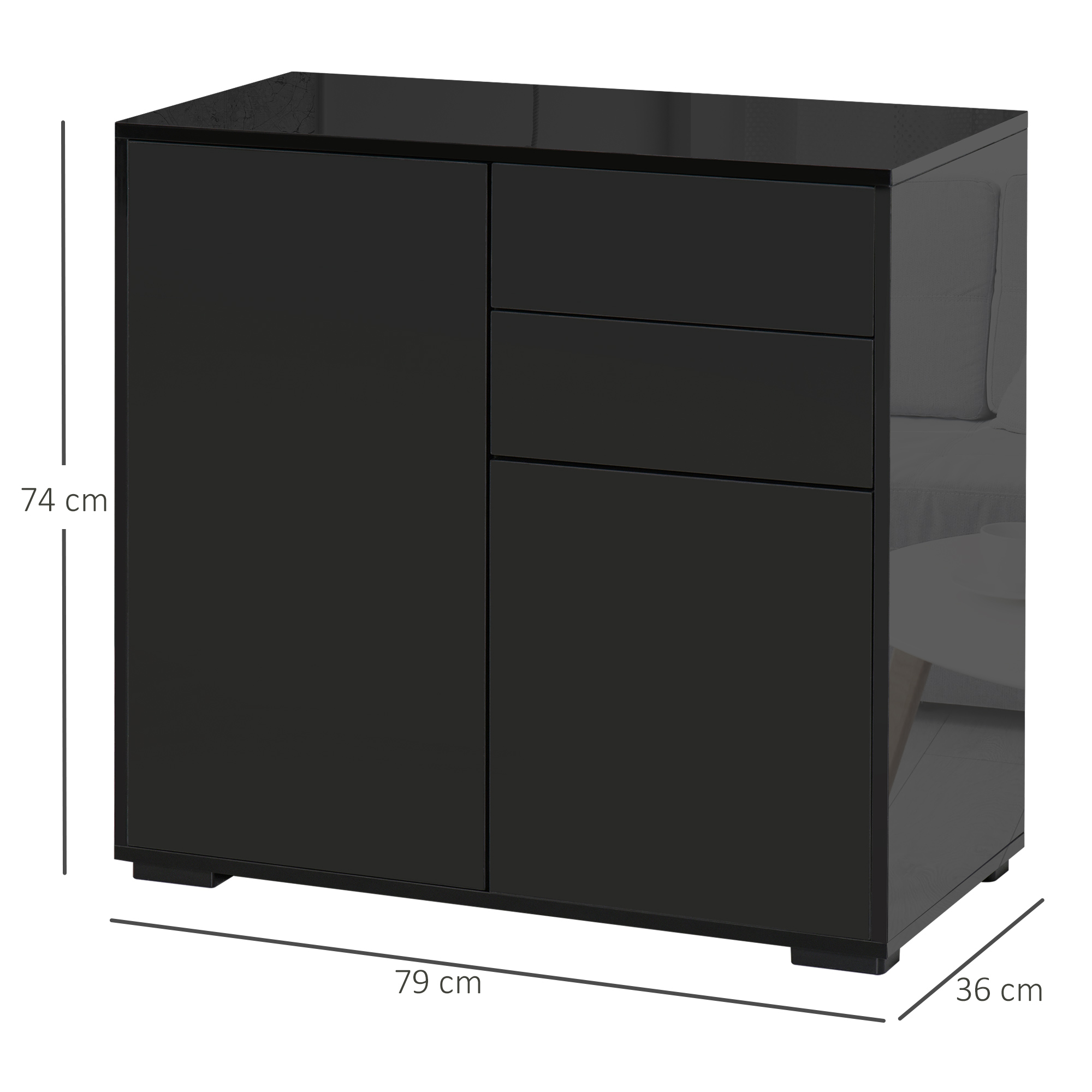 thumbnail 3 - Push-Open Side Cabinet with 2 Drawer 2 Door Cabinet for Home Office
