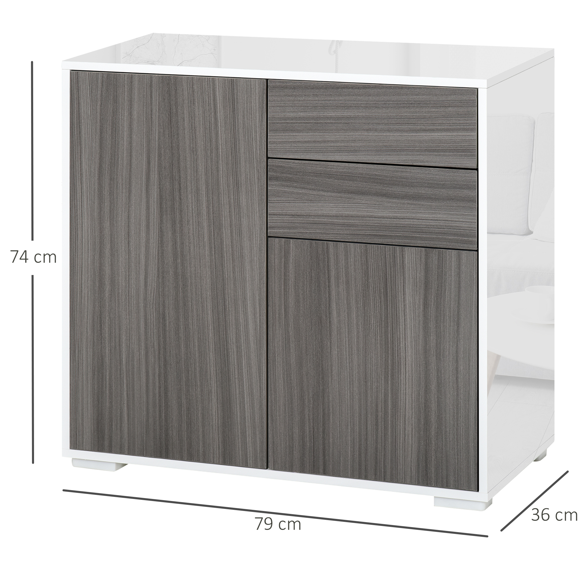thumbnail 19 - Push-Open Side Cabinet with 2 Drawer 2 Door Cabinet for Home Office