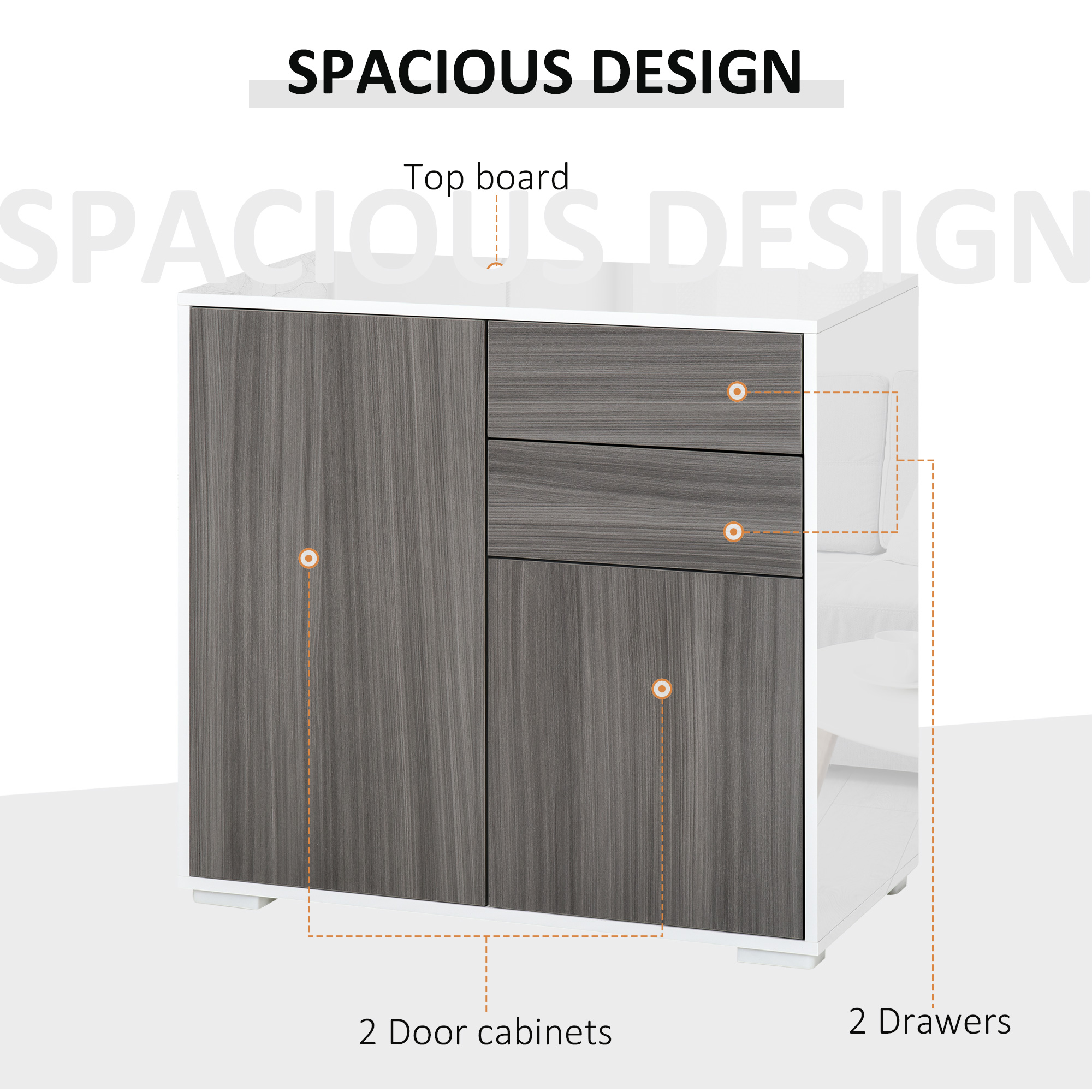 thumbnail 20 - Push-Open Side Cabinet with 2 Drawer 2 Door Cabinet for Home Office