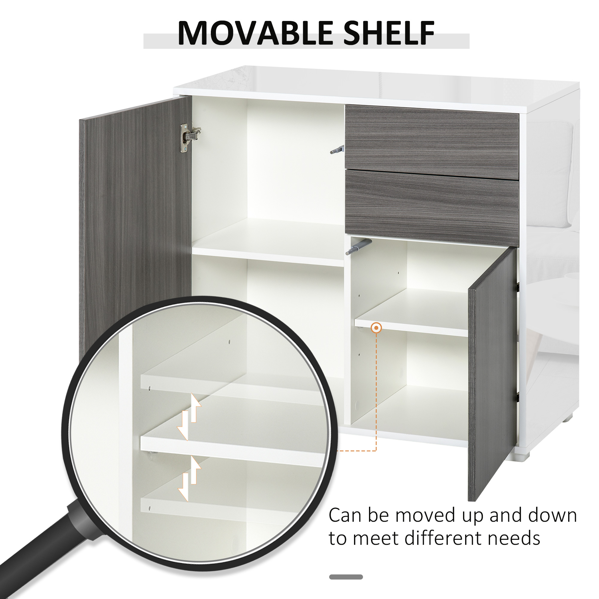 thumbnail 21 - Push-Open Side Cabinet with 2 Drawer 2 Door Cabinet for Home Office