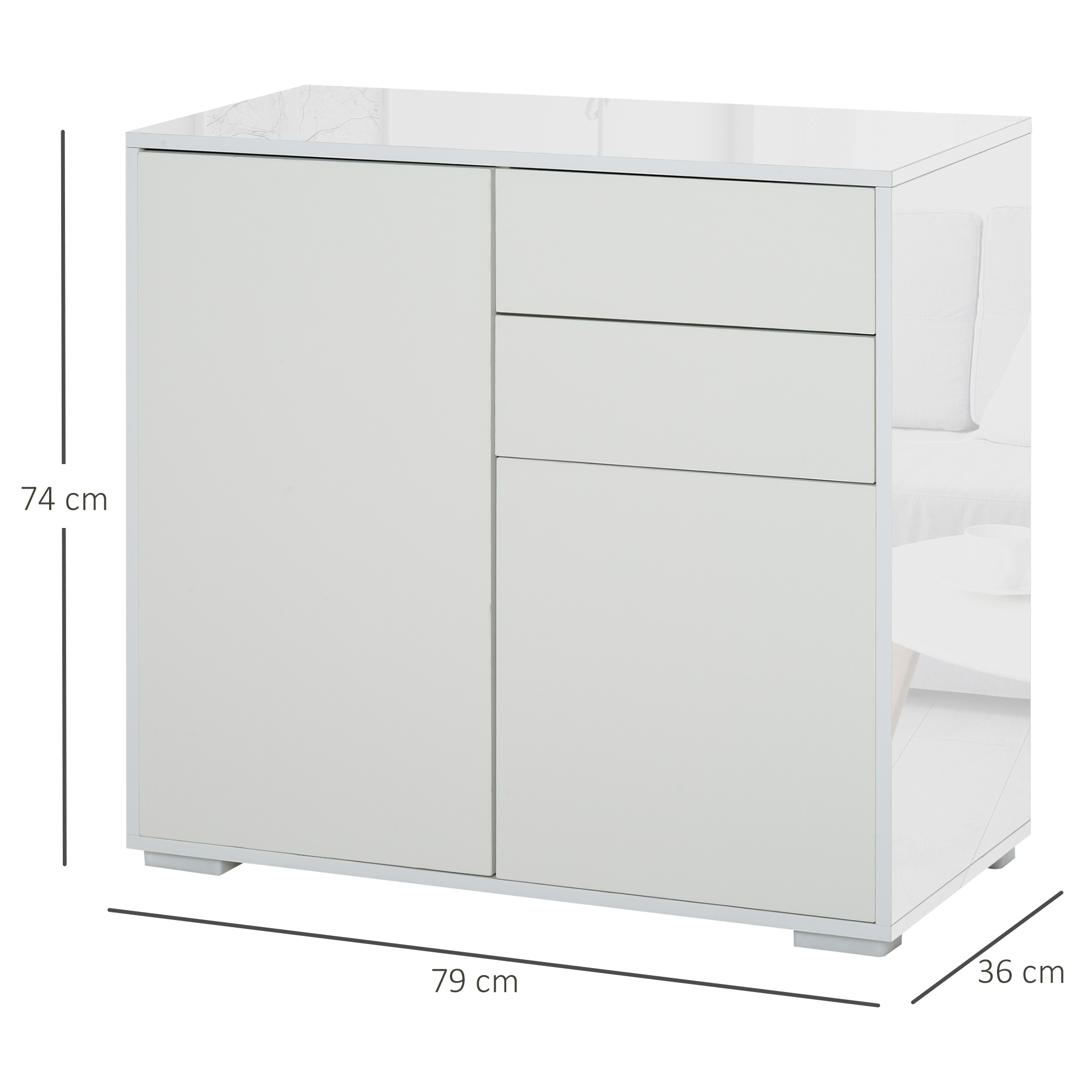 thumbnail 27 - Push-Open Side Cabinet with 2 Drawer 2 Door Cabinet for Home Office