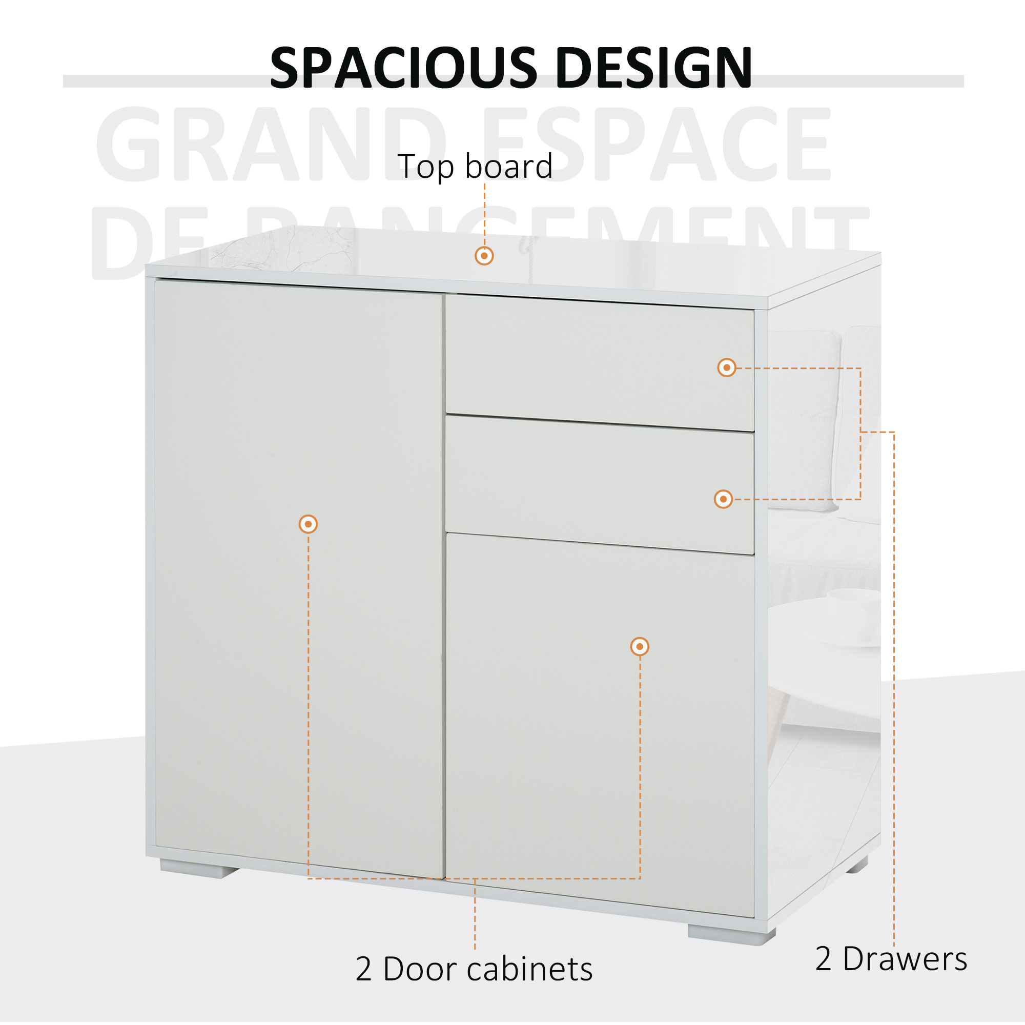 thumbnail 28 - Push-Open Side Cabinet with 2 Drawer 2 Door Cabinet for Home Office