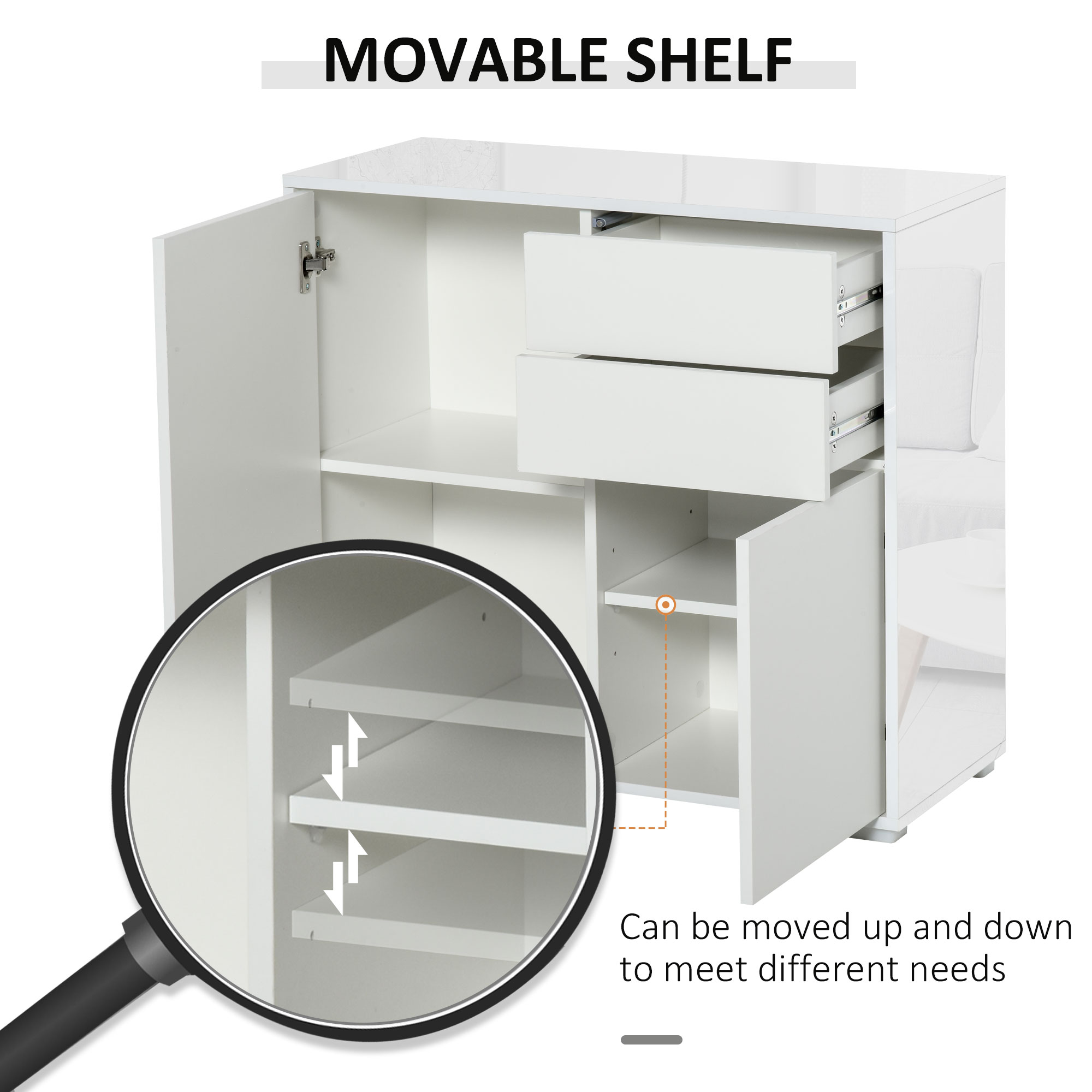 thumbnail 29 - Push-Open Side Cabinet with 2 Drawer 2 Door Cabinet for Home Office