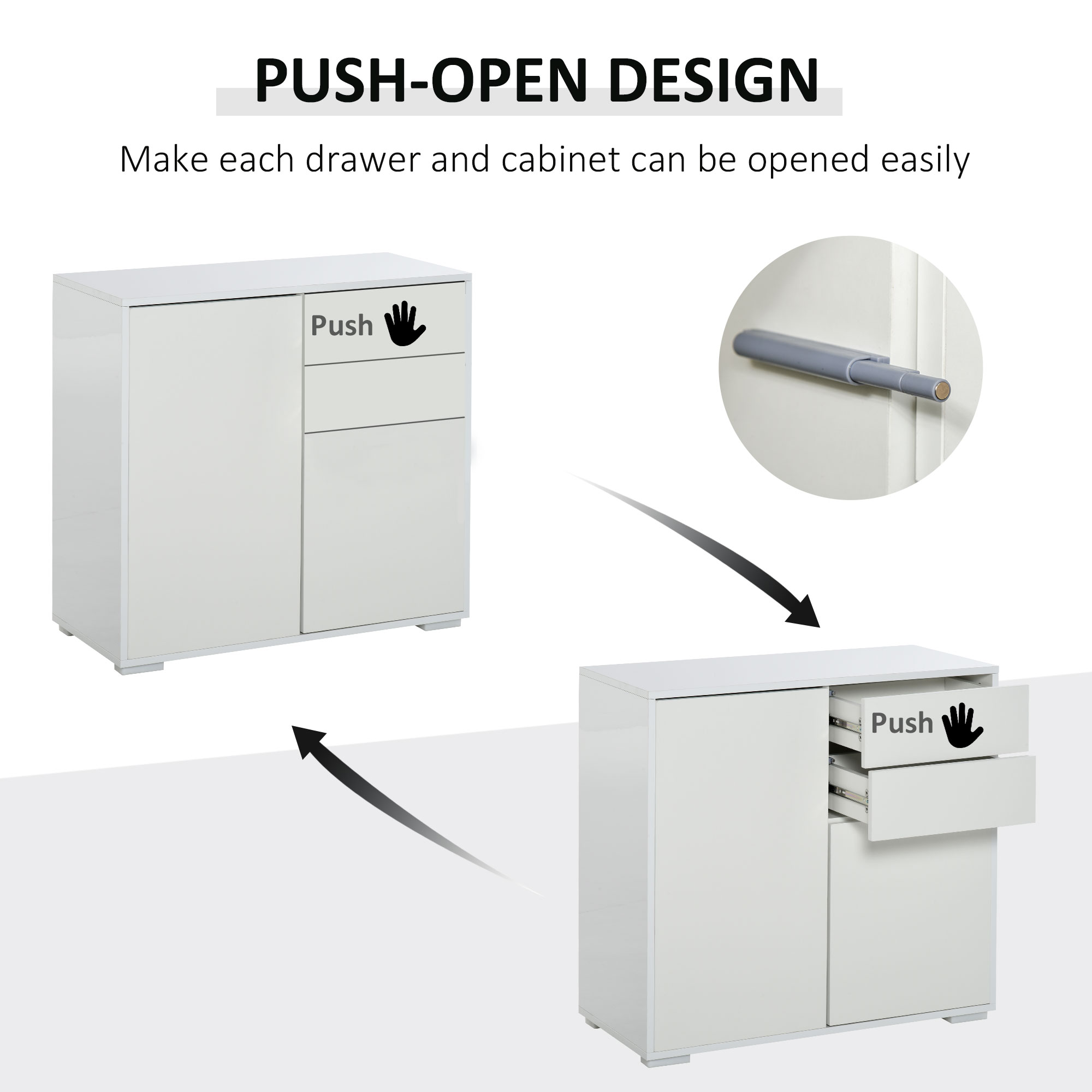 thumbnail 30 - Push-Open Side Cabinet with 2 Drawer 2 Door Cabinet for Home Office