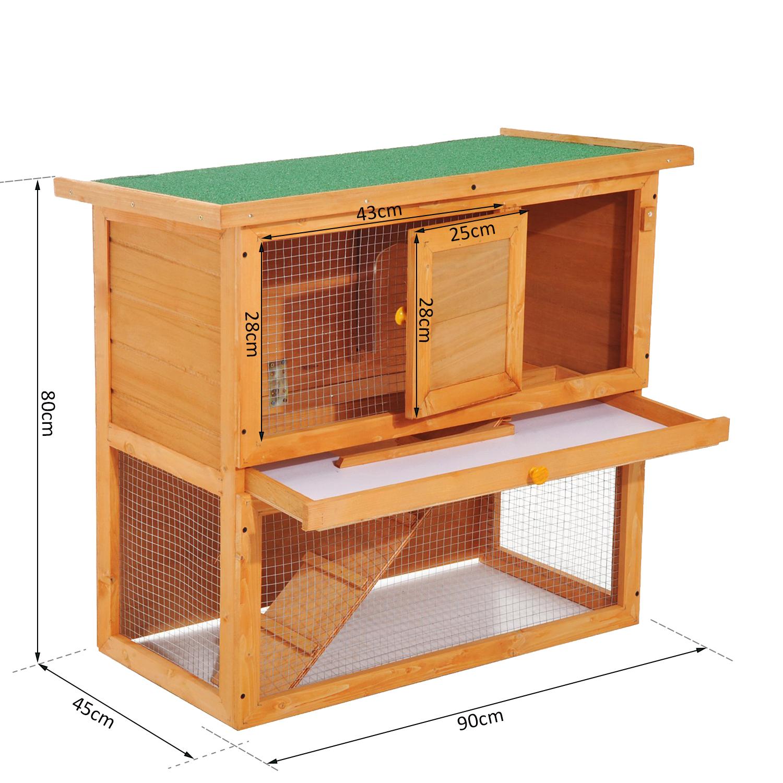 Pawhut 90 X 45 X 90 cm 2 niveles Conejo Hutch de Madera Jaula con ejecutar Bunny Casa De Mascotas