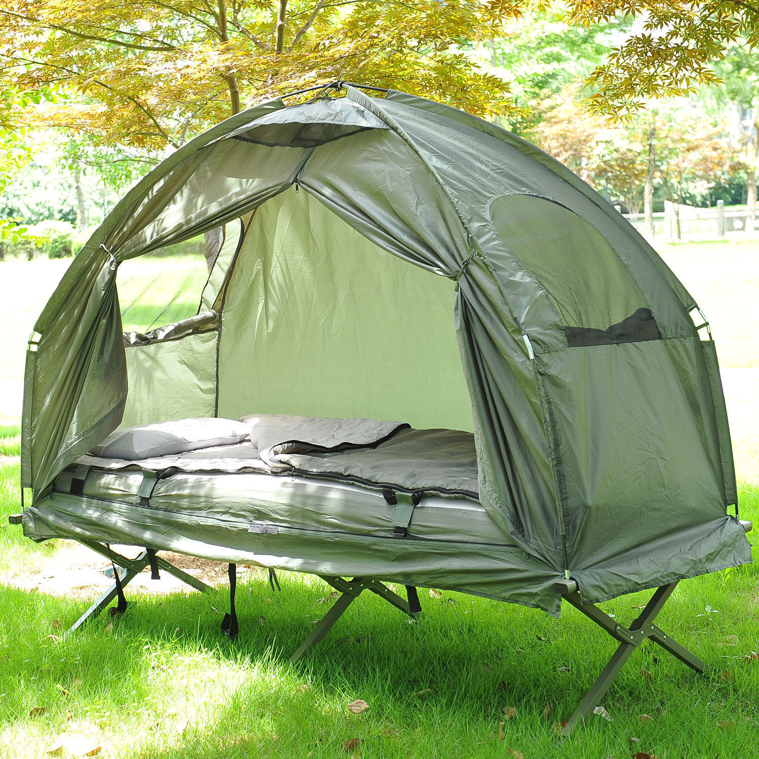 Outdoor One Person Folding Dome Tent Hiking Camping Bed Cot W Sleeping Bag New 5055974816312 Ebay