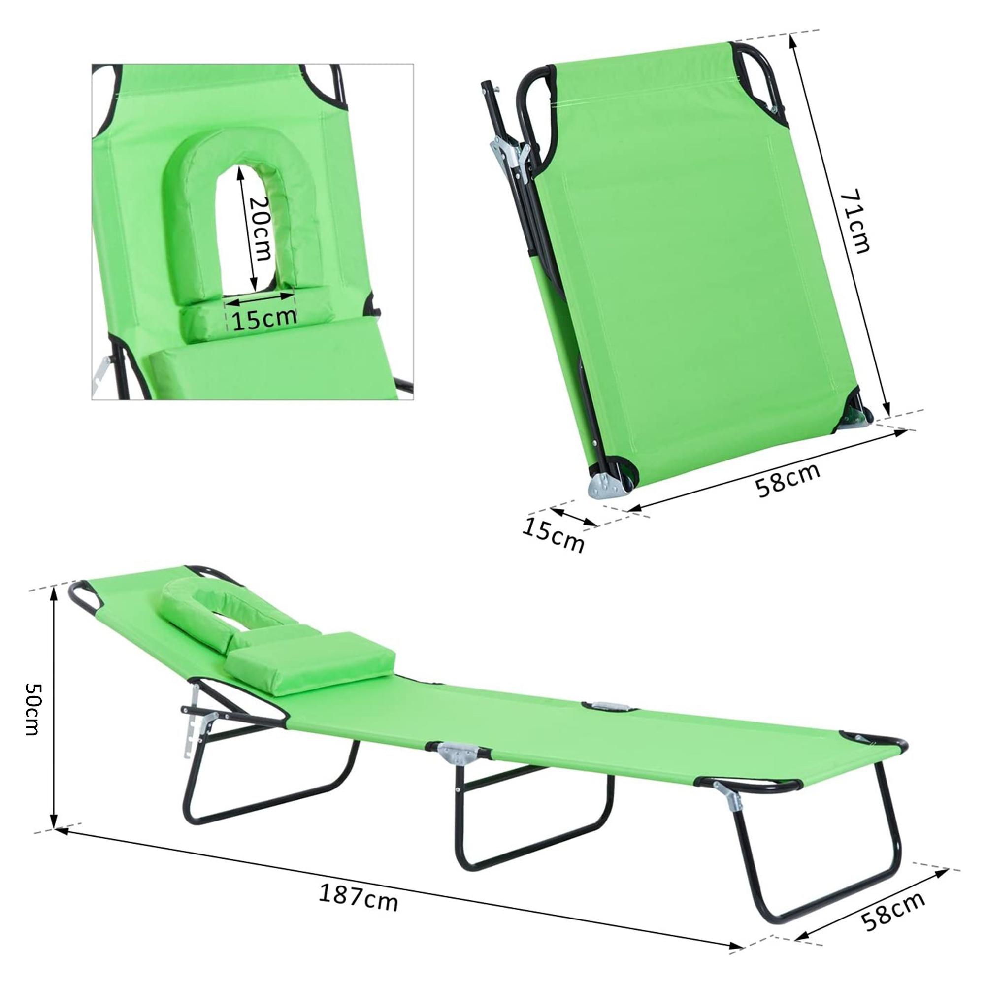 miniatura 22 - Silla Reclinable Plegable Tumbona Reclinable Jardín Al Aire Libre Portátil Asiento Cama