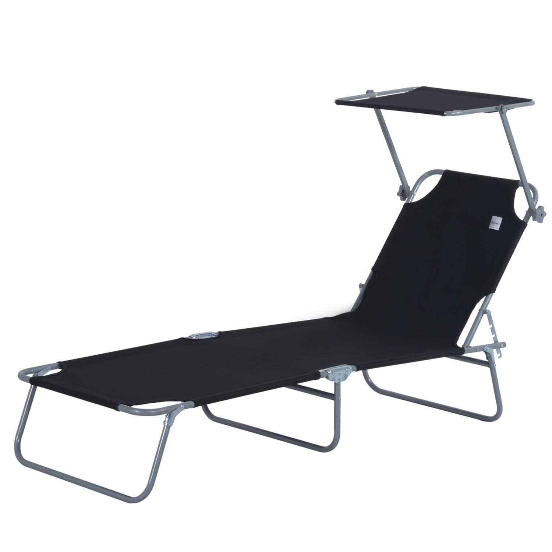Reclining-Sun-Lounger-Chair-Folding-Recliner-Garden-Adjustable-Patio-W-Sunshade thumbnail 7