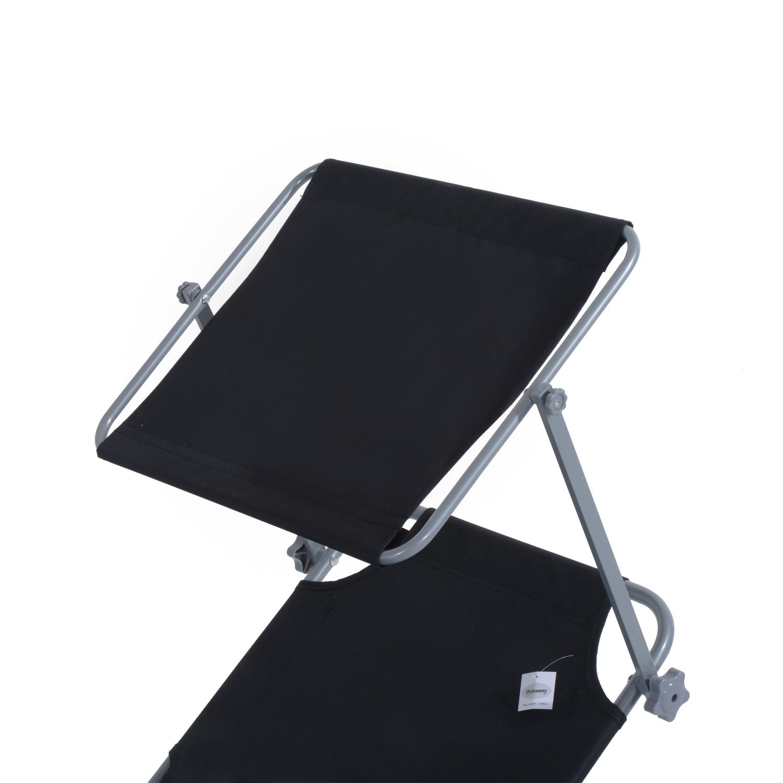 Reclining-Sun-Lounger-Chair-Folding-Recliner-Garden-Adjustable-Patio-W-Sunshade thumbnail 8