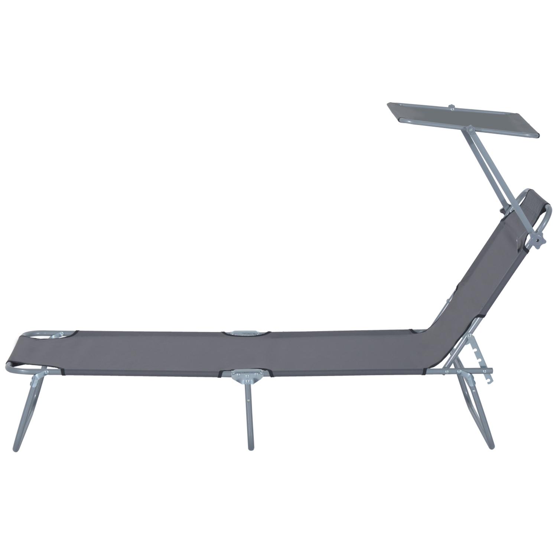 Reclining-Sun-Lounger-Chair-Folding-Recliner-Garden-Adjustable-Patio-W-Sunshade thumbnail 23