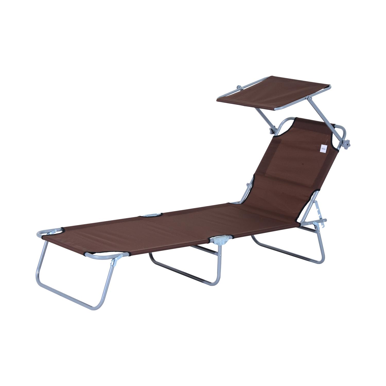 Reclining-Sun-Lounger-Chair-Folding-Recliner-Garden-Adjustable-Patio-W-Sunshade thumbnail 15