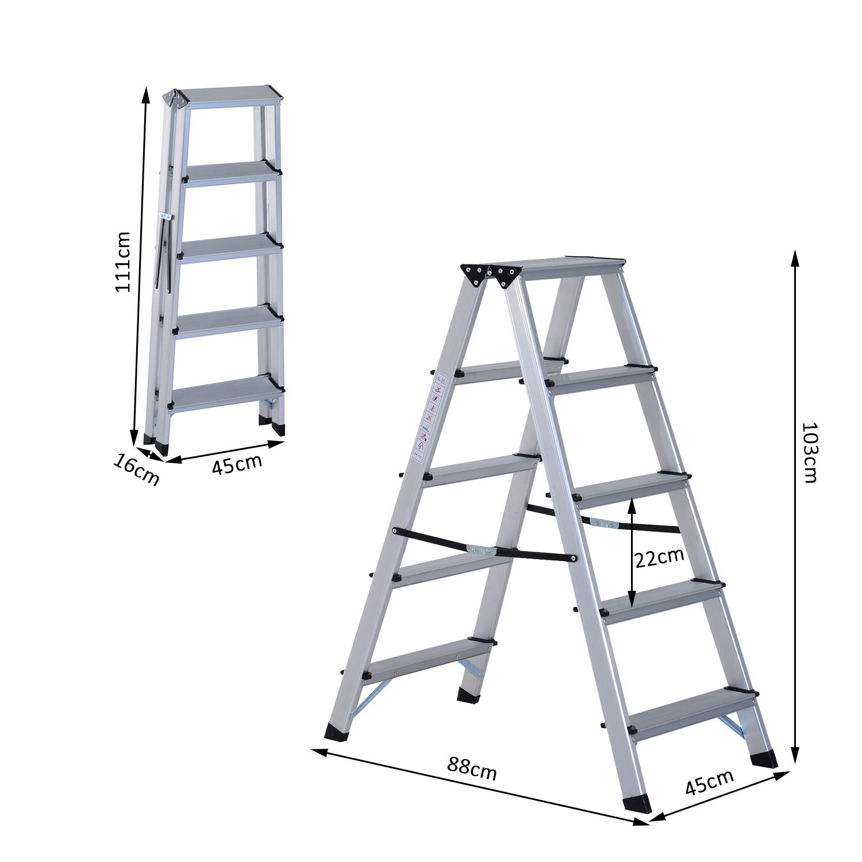 Foldable Aluminum Ladder A Type Multi Functional Folding