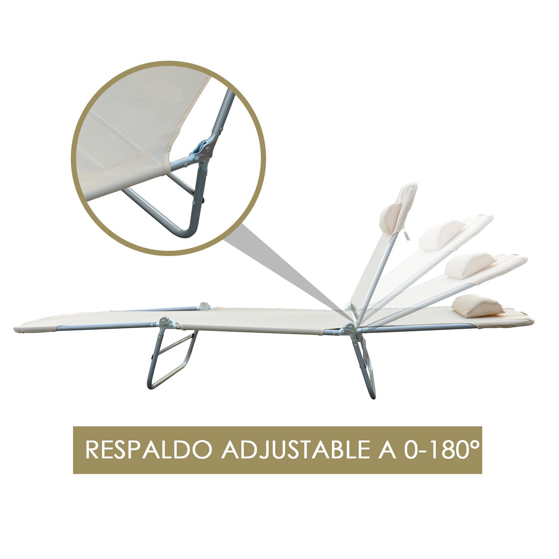 Tumbona-Inclinable-de-Acero-Plegable-con-Almohada-Playa-Piscina-Varios-Colores miniatura 13