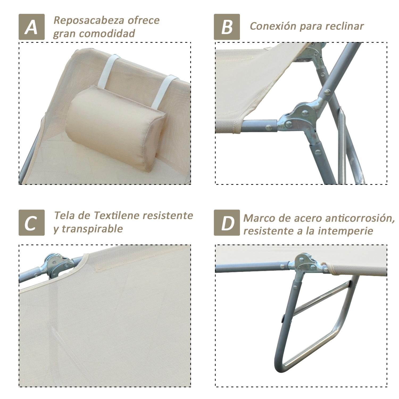 Tumbona-Inclinable-de-Acero-Plegable-con-Almohada-Playa-Piscina-Varios-Colores miniatura 15