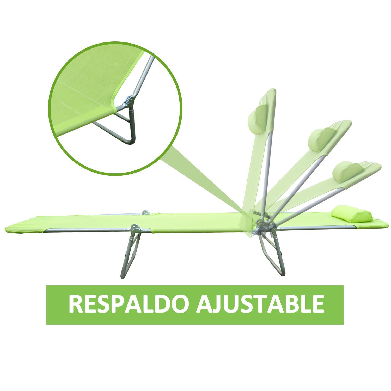 Tumbona-Inclinable-de-Acero-Plegable-con-Almohada-Playa-Piscina-Varios-Colores miniatura 33