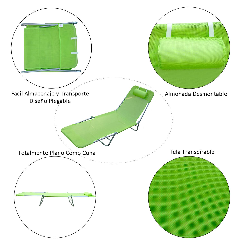 Tumbona-Inclinable-de-Acero-Plegable-con-Almohada-Playa-Piscina-Varios-Colores miniatura 34