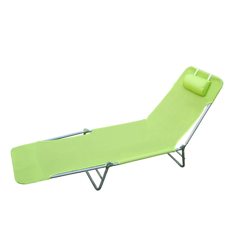 01 0335g(1) - Tumbona Inclinable de Acero Plegable con Almohada Playa Piscina Varios Colores