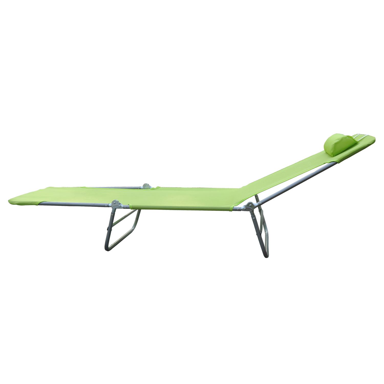 01 0335g(8) - Tumbona Inclinable de Acero Plegable con Almohada Playa Piscina Varios Colores