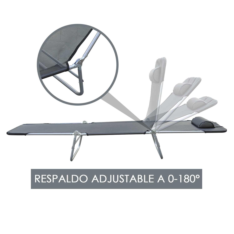 Tumbona-Inclinable-de-Acero-Plegable-con-Almohada-Playa-Piscina-Varios-Colores miniatura 21