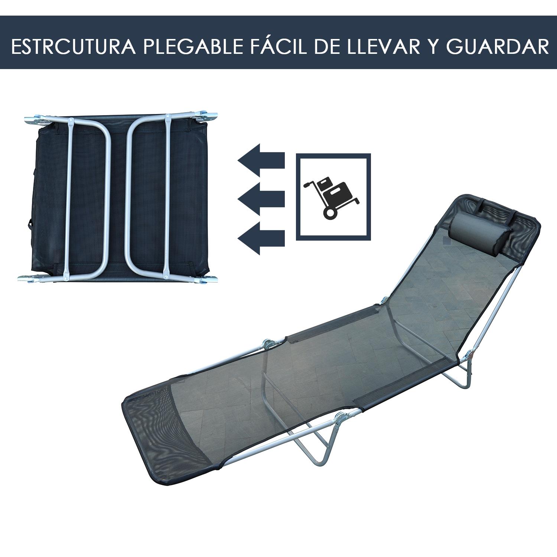 Tumbona-Inclinable-de-Acero-Plegable-con-Almohada-Playa-Piscina-Varios-Colores miniatura 22