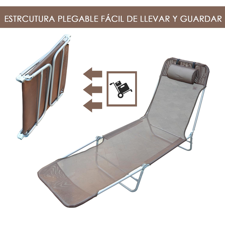 Tumbona-Inclinable-de-Acero-Plegable-con-Almohada-Playa-Piscina-Varios-Colores miniatura 5