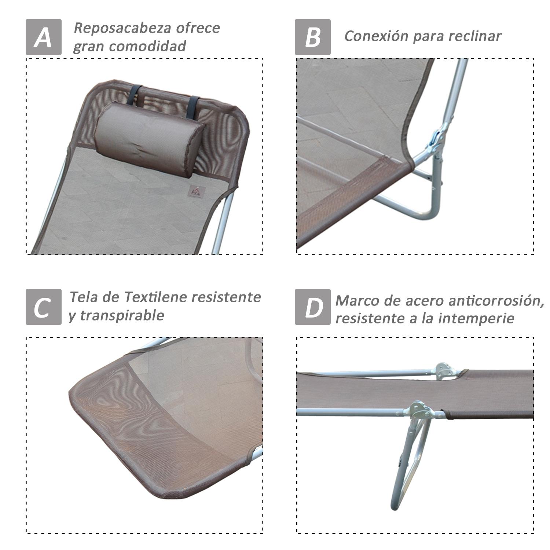 Tumbona-Inclinable-de-Acero-Plegable-con-Almohada-Playa-Piscina-Varios-Colores miniatura 6