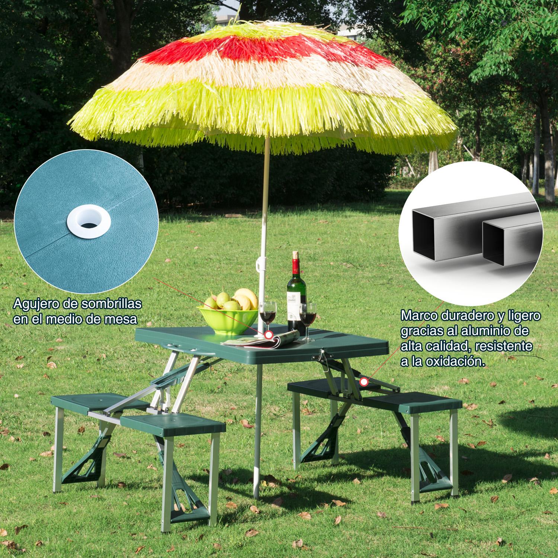 Mesa-Plegable-de-Camping-con-4-Asientos-y-Agujero-para-Sombrilla-Picnic-y-Playa miniatura 29
