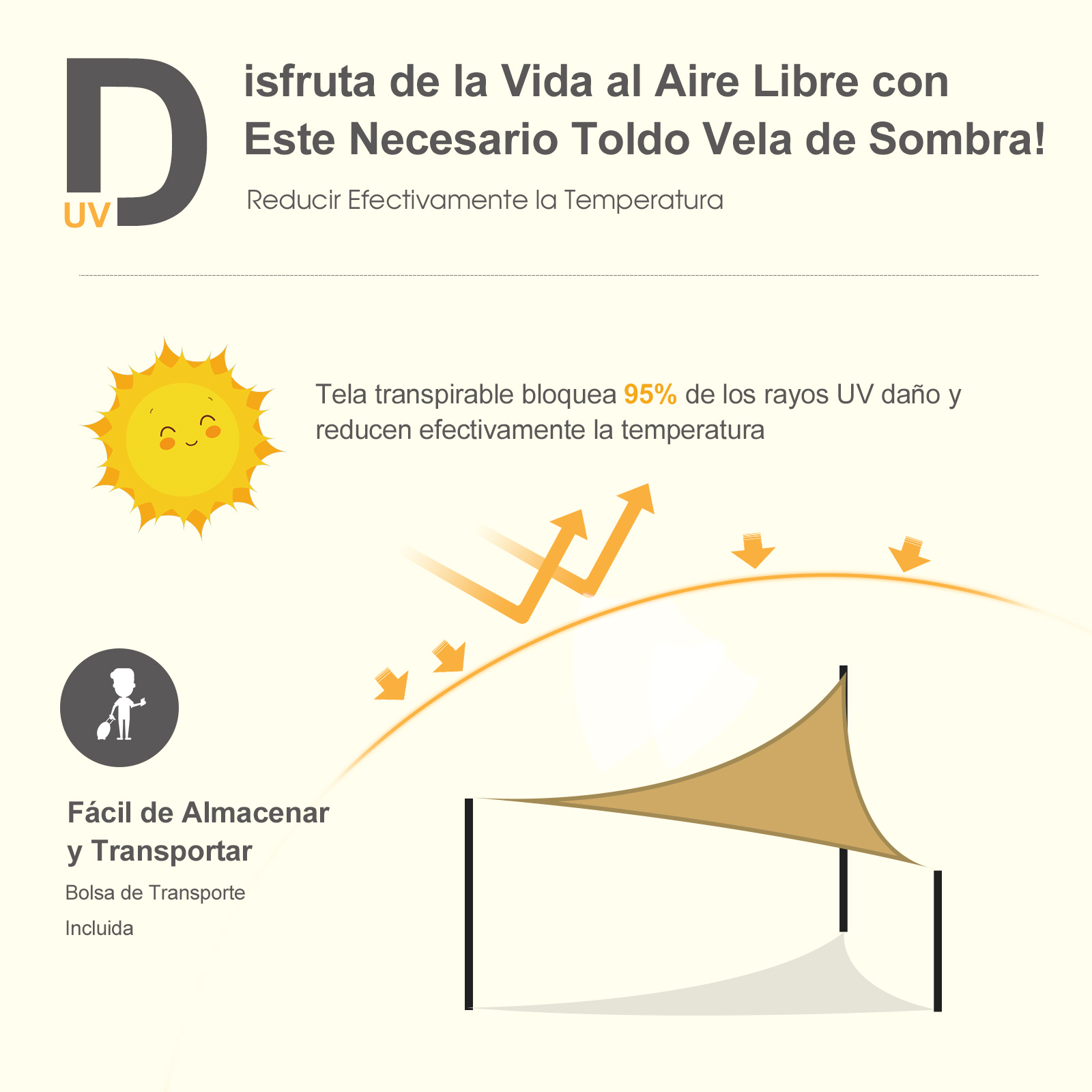 Toldo-Vela-Sombrilla-Parasol-Triangulo-Tejido-de-Poliester-185-g-m-Jardin-Playa miniatura 4