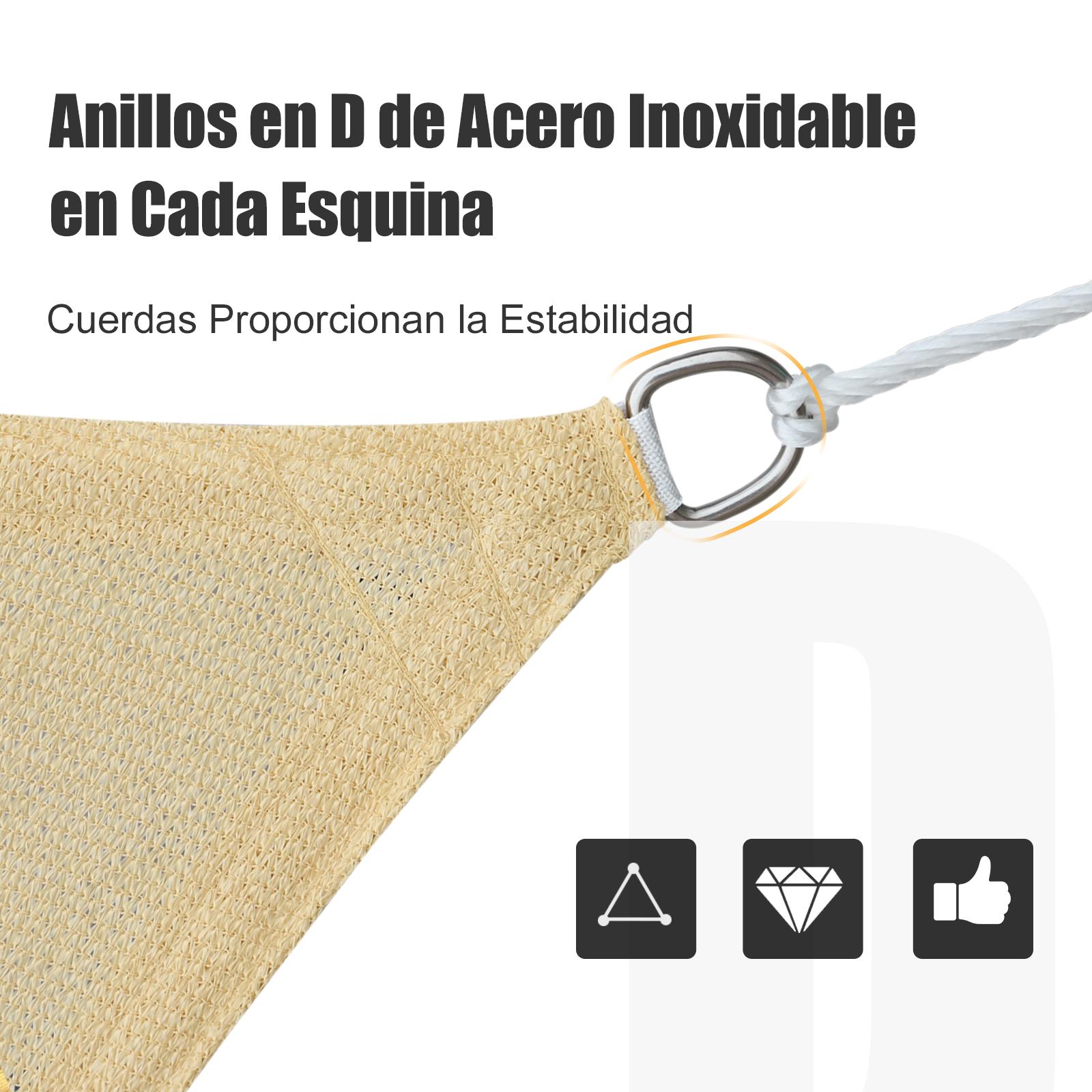 Toldo-Vela-Sombrilla-Parasol-Triangulo-Tejido-de-Poliester-185-g-m-Jardin-Playa miniatura 6