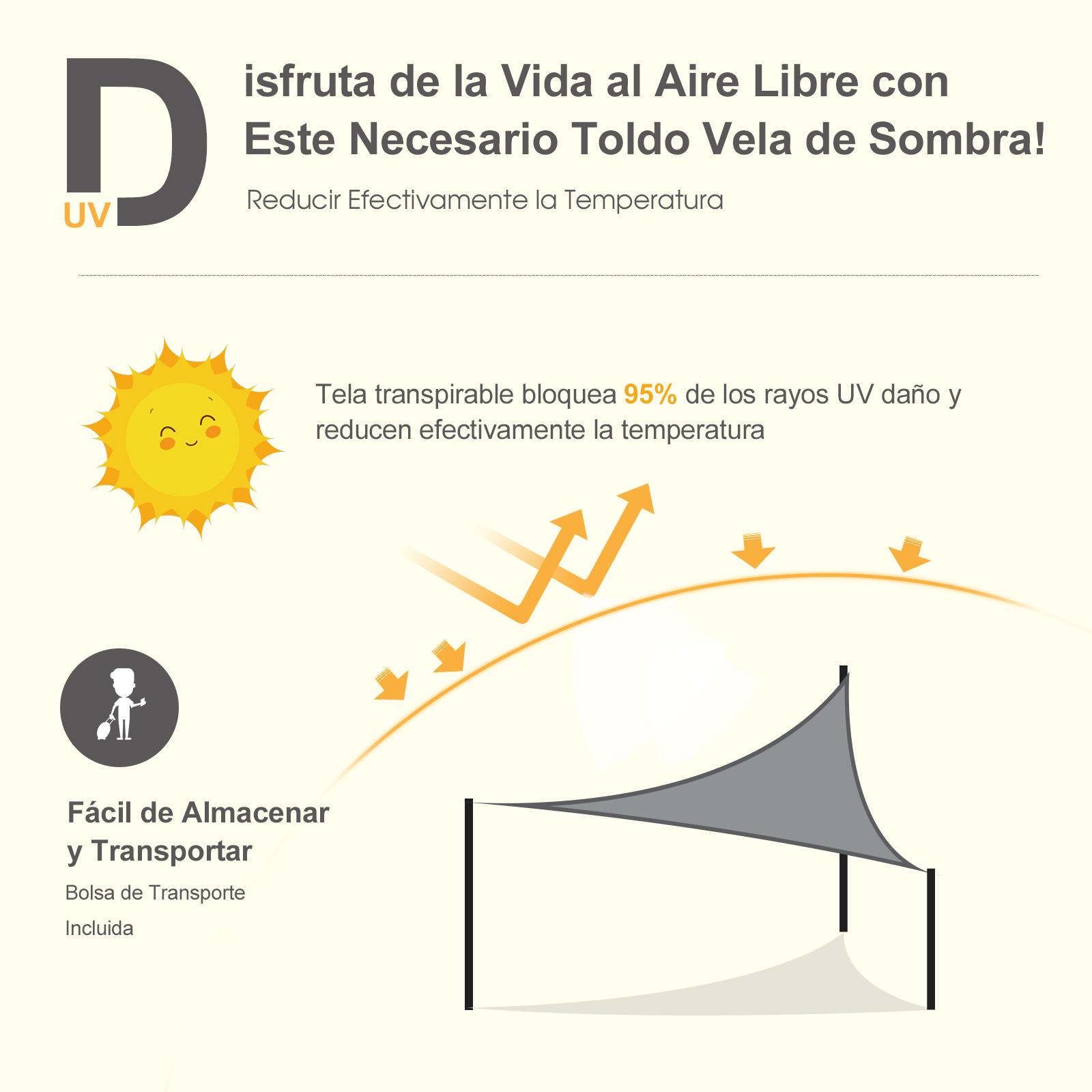Toldo-Vela-Sombrilla-Parasol-Triangulo-Tejido-de-Poliester-185-g-m-Jardin-Playa miniatura 19