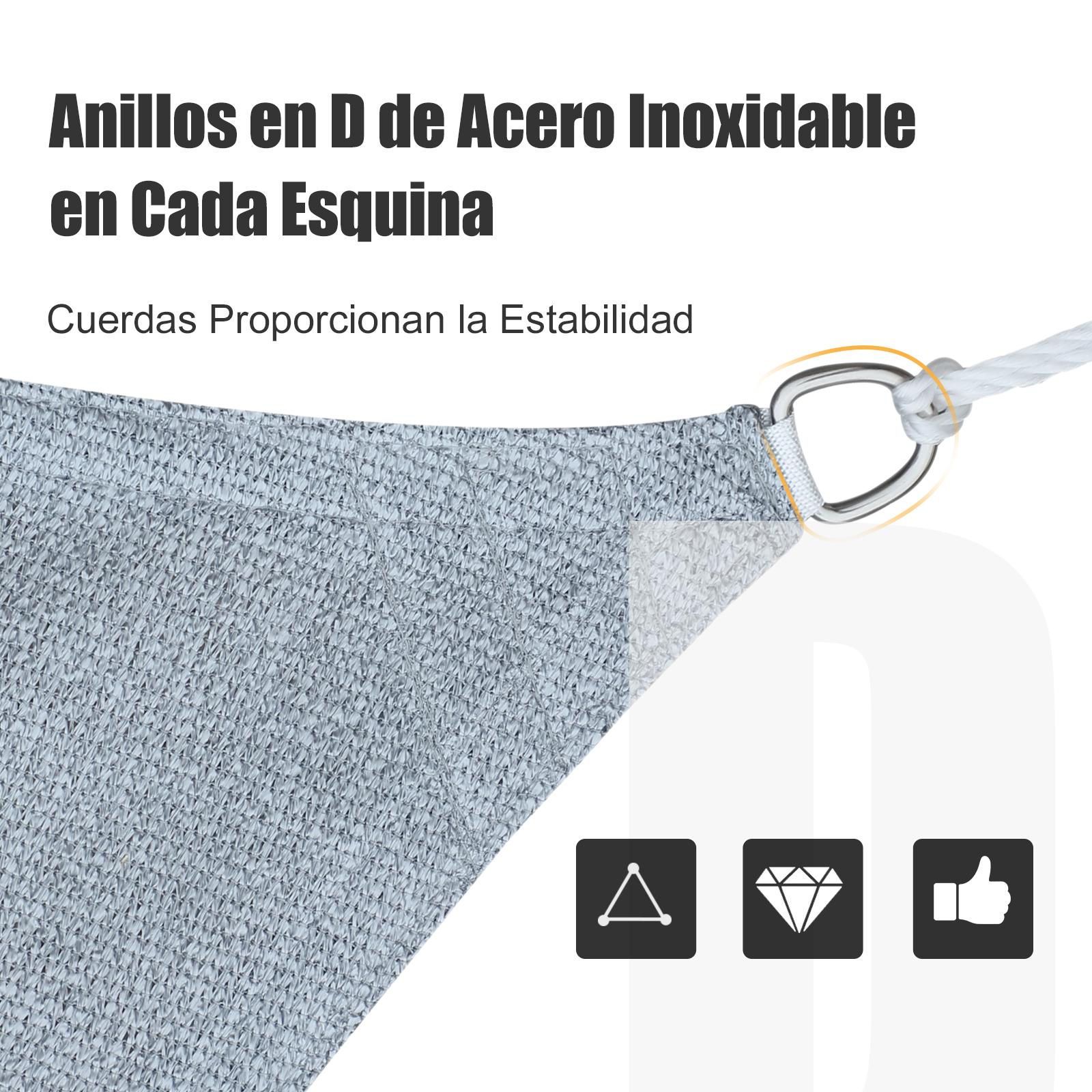 Toldo-Vela-Sombrilla-Parasol-Triangulo-Tejido-de-Poliester-185-g-m-Jardin-Playa miniatura 20